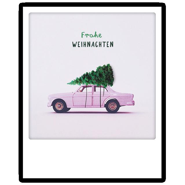 "Photo-Postkarte ""Frohe Weihnachten rosa Auto"" - XM-0169-DE - Pickmotion (Xmas)"