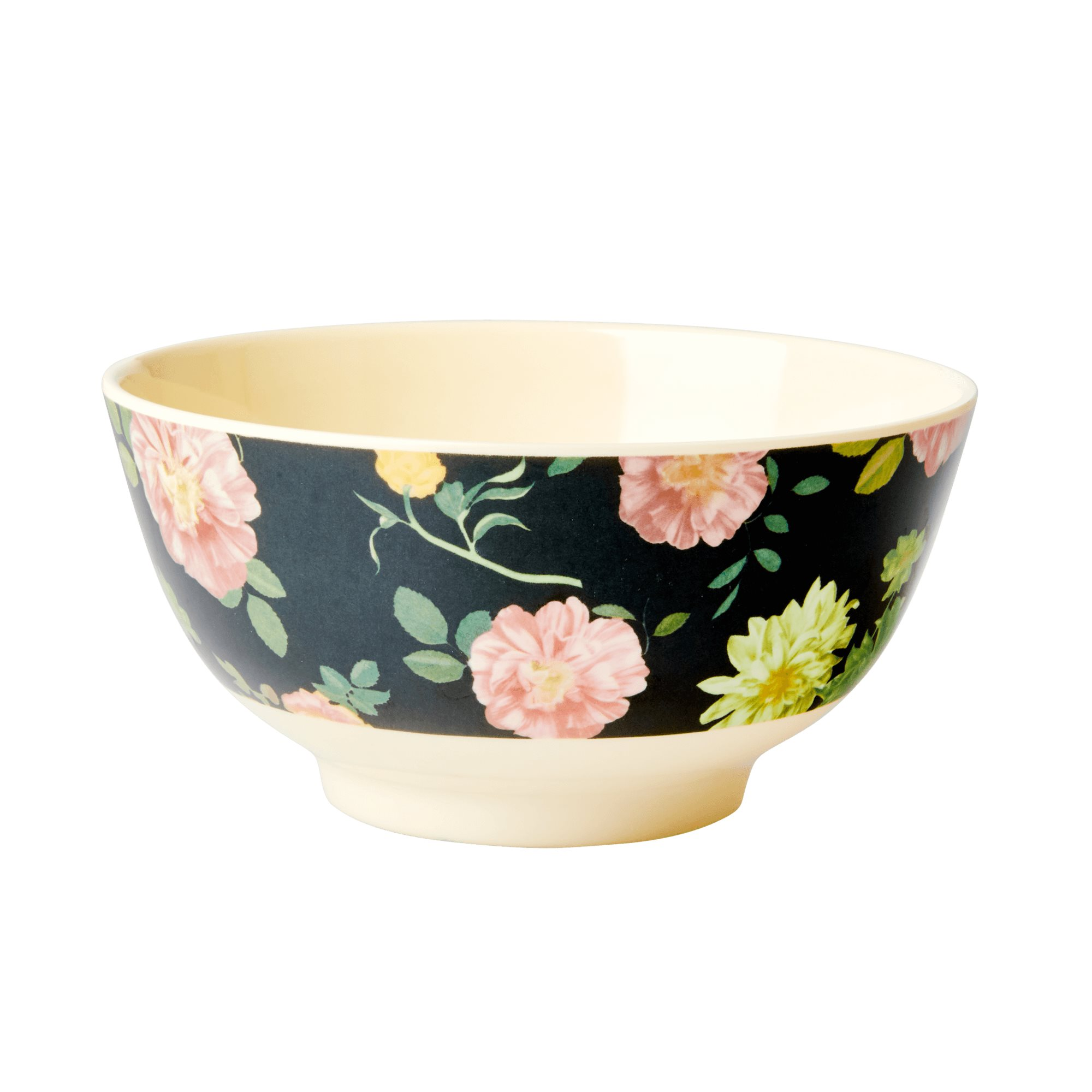 Medium Melamine Bowl - Dark Rose Print - rice