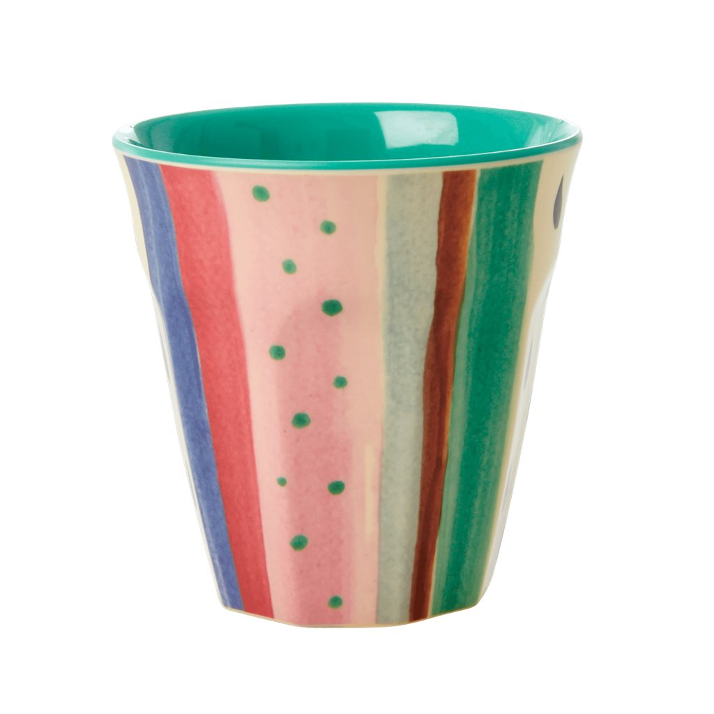 Medium Melamine Cup - Louise's stripe Print - rice