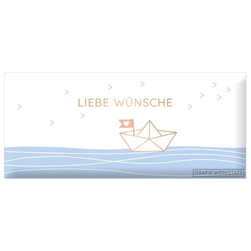Schokolade 30g -  Liebe Wünsche Goldveredelung - Grafik Werkstatt