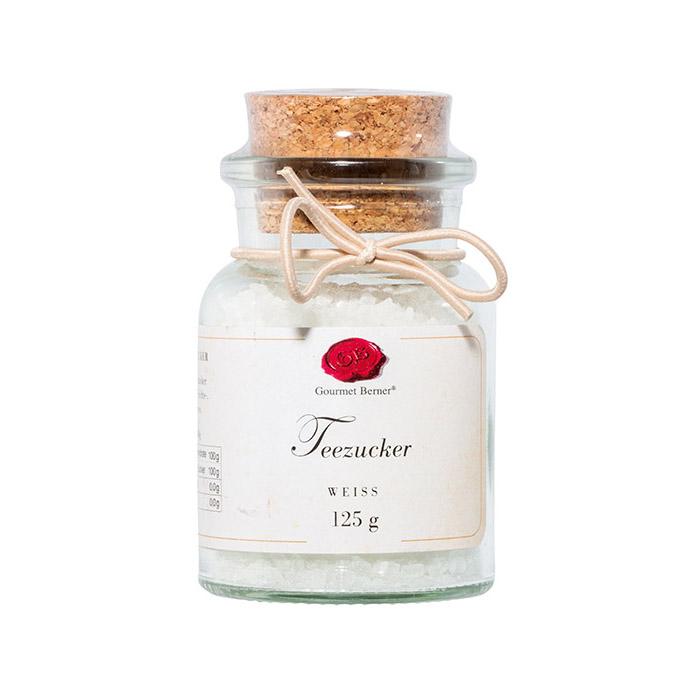 Teezucker weiß - 125g im Korkenglas - Gourmet Berner
