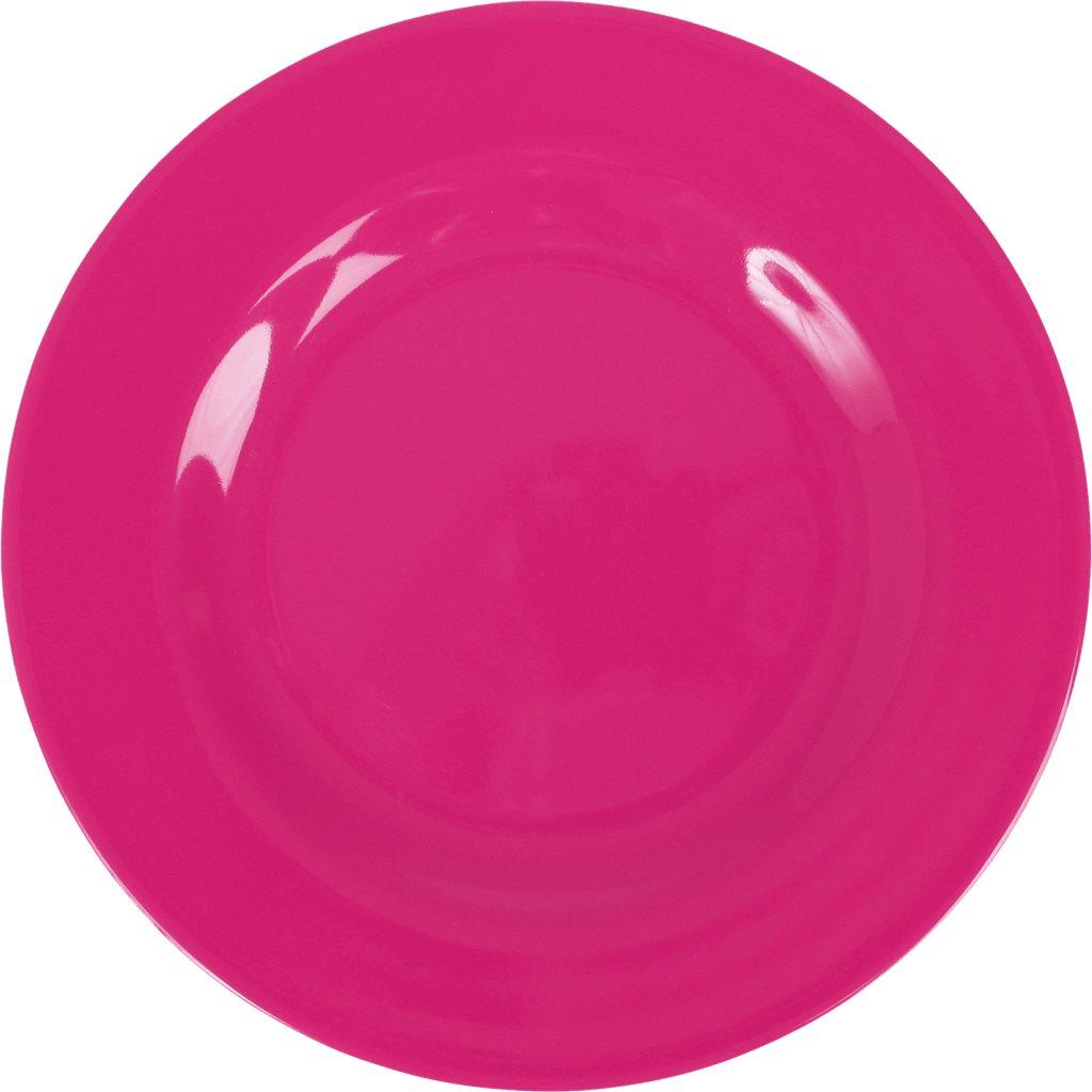 Round Melamine Lunch Plate - Fuchsia - rice