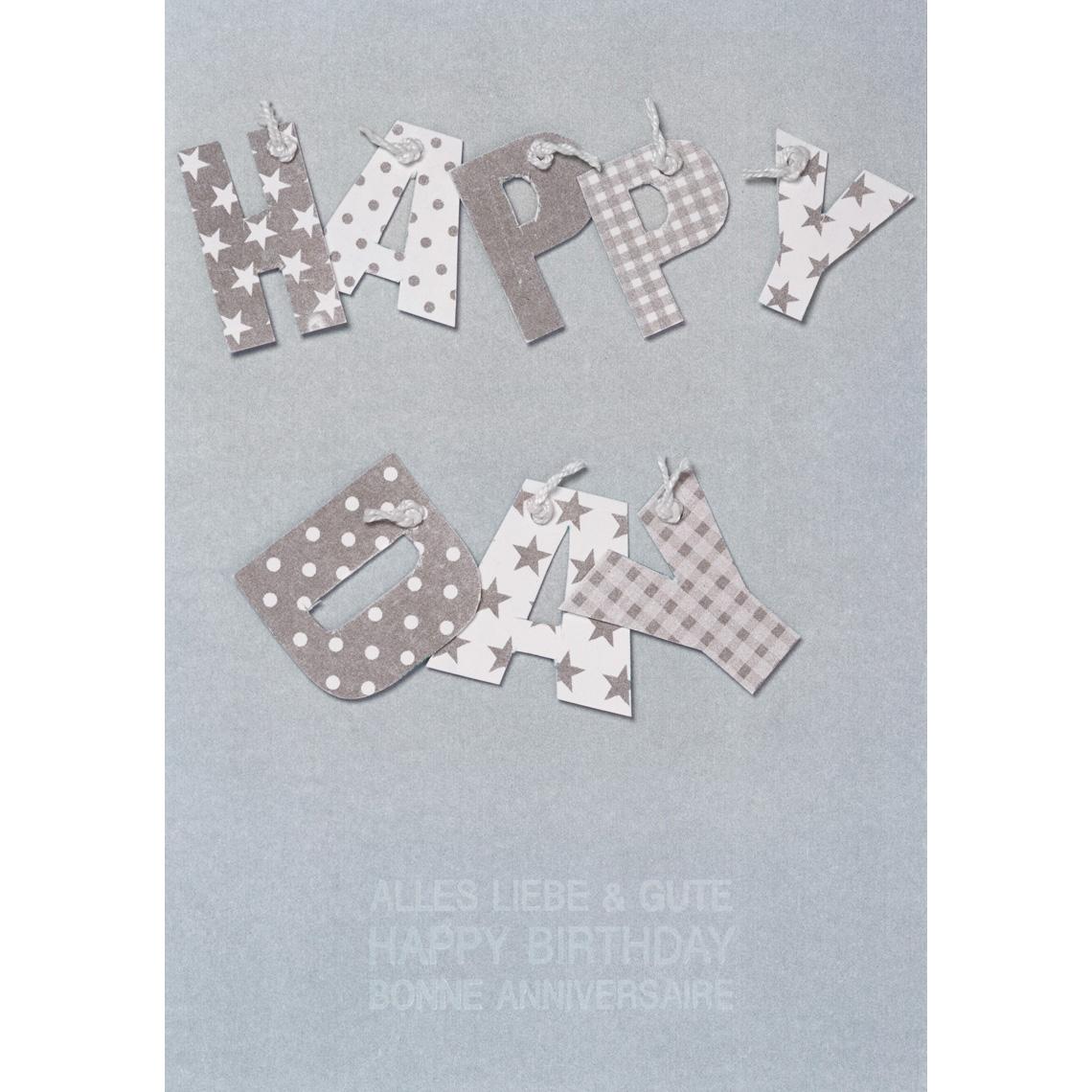 """Geburtstagskarte - Buchstaben Karte """"Happy Day"""" - räder"""