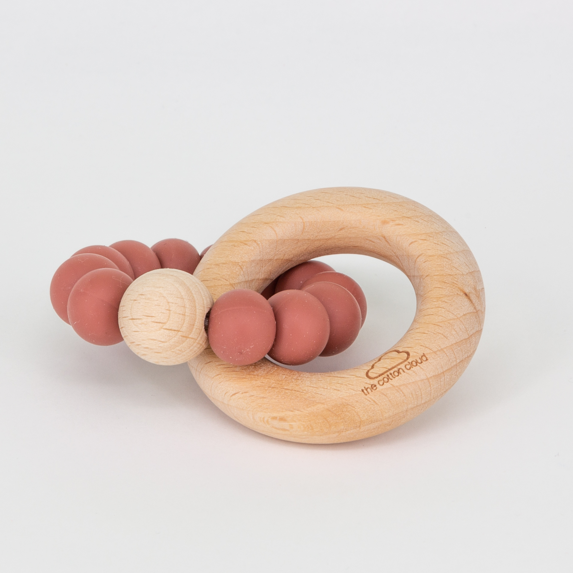 Beißring aus Silikon und Holz - dark blush - the cotton cloud