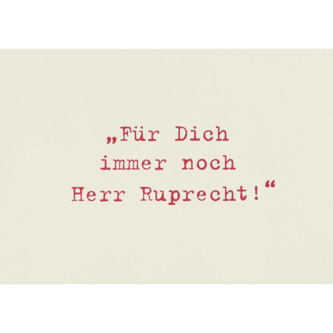 """Weihnachtspostkarte """"Für Dich immer noch Herr Ruprecht"""" - räder (Xmas)"""