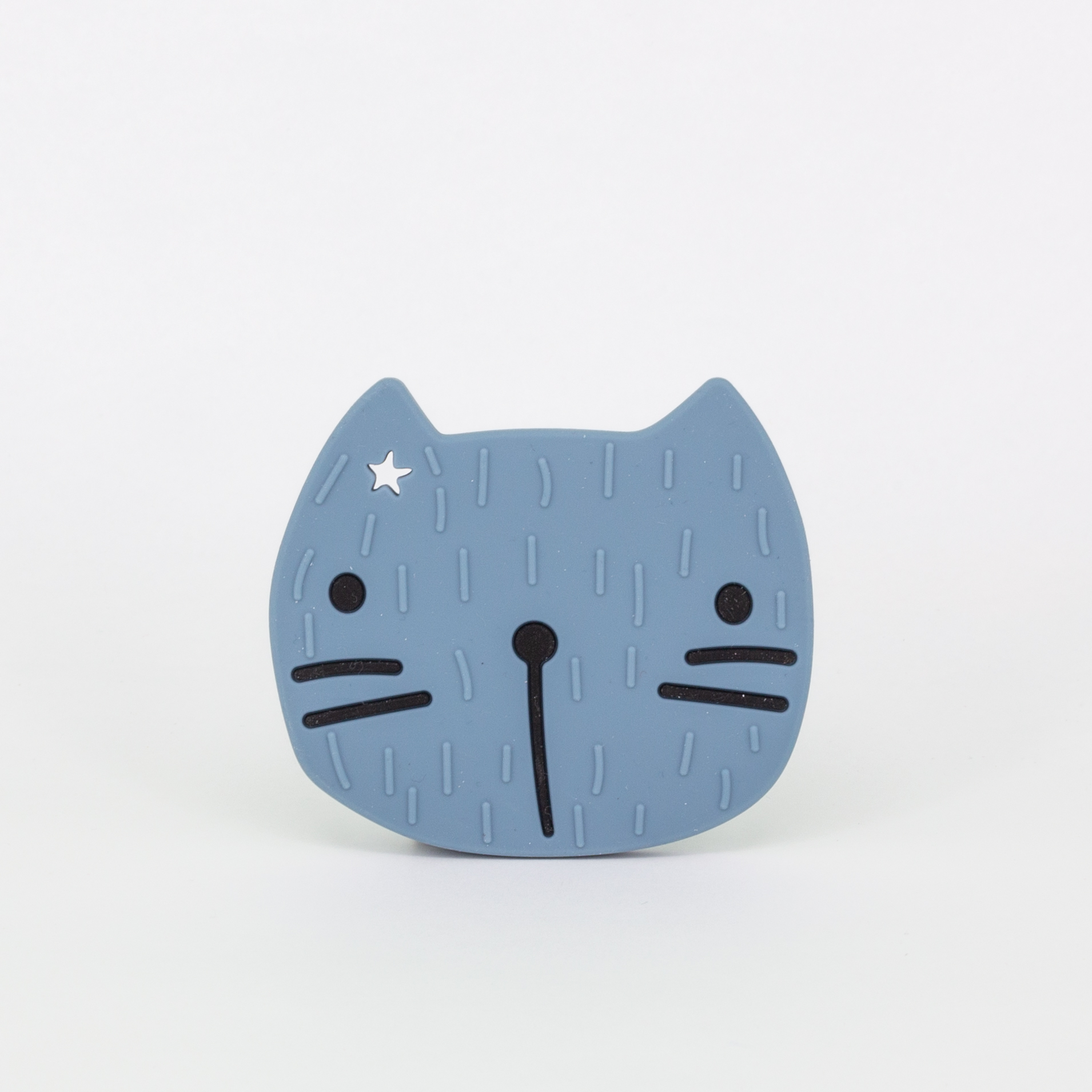 Beißring Silikon - Katze - smoky blue - the cotton cloud