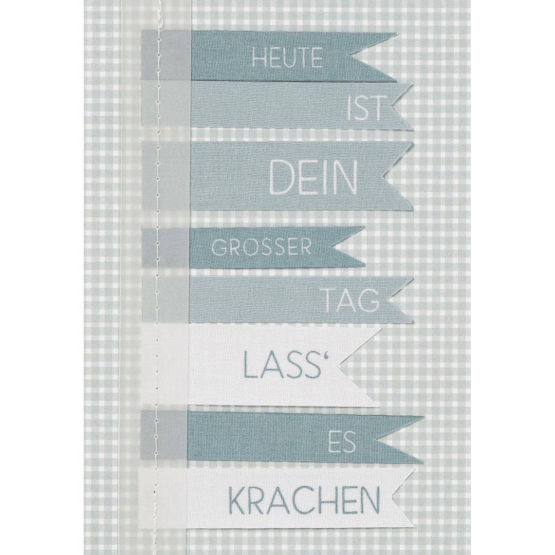 """Geburtstagskarte - Fahnenkarte """"Heute ist dein..."""" - räder"""