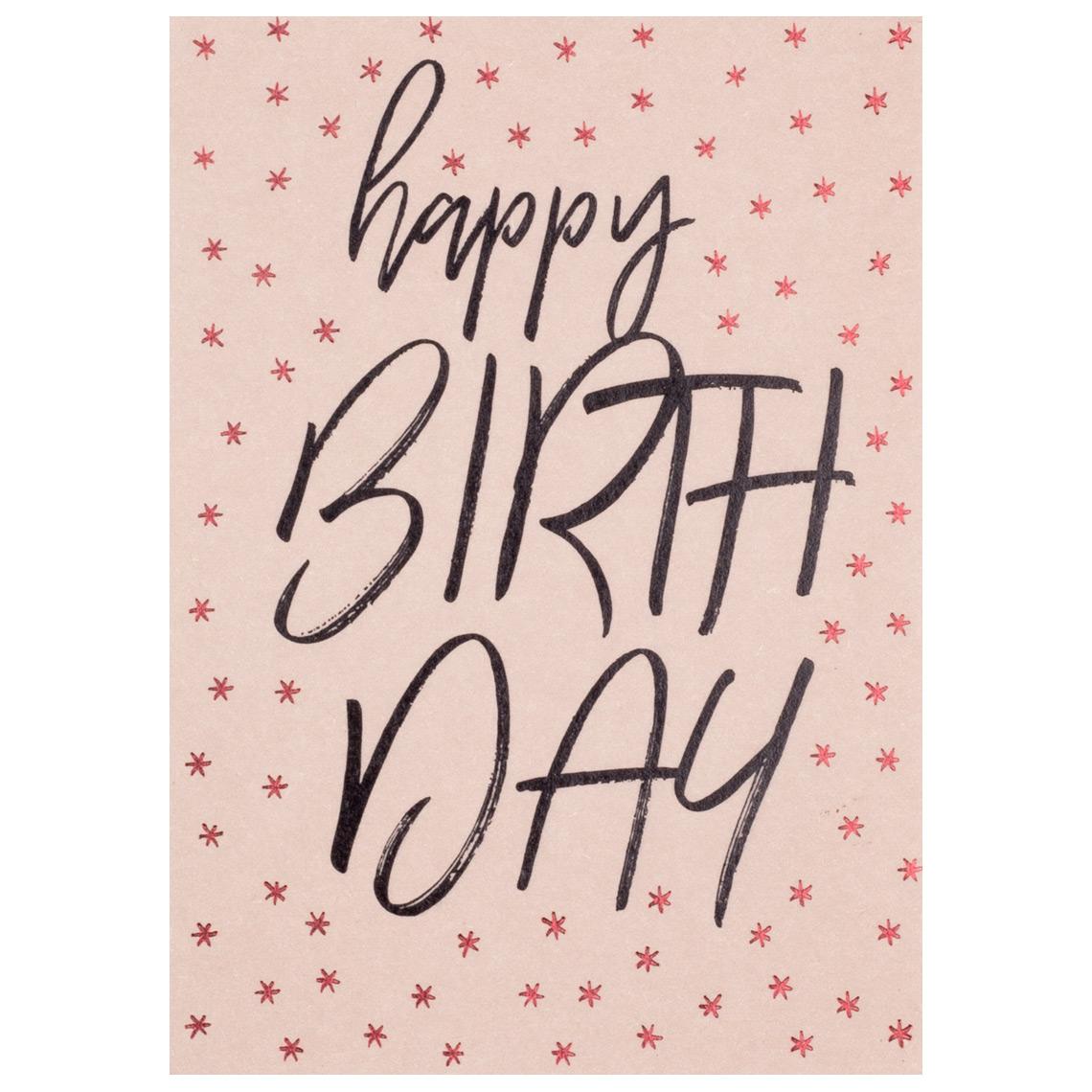 """Geburtstagskarte - Typo Postkarte """"Happy Birthday"""" - räder"""