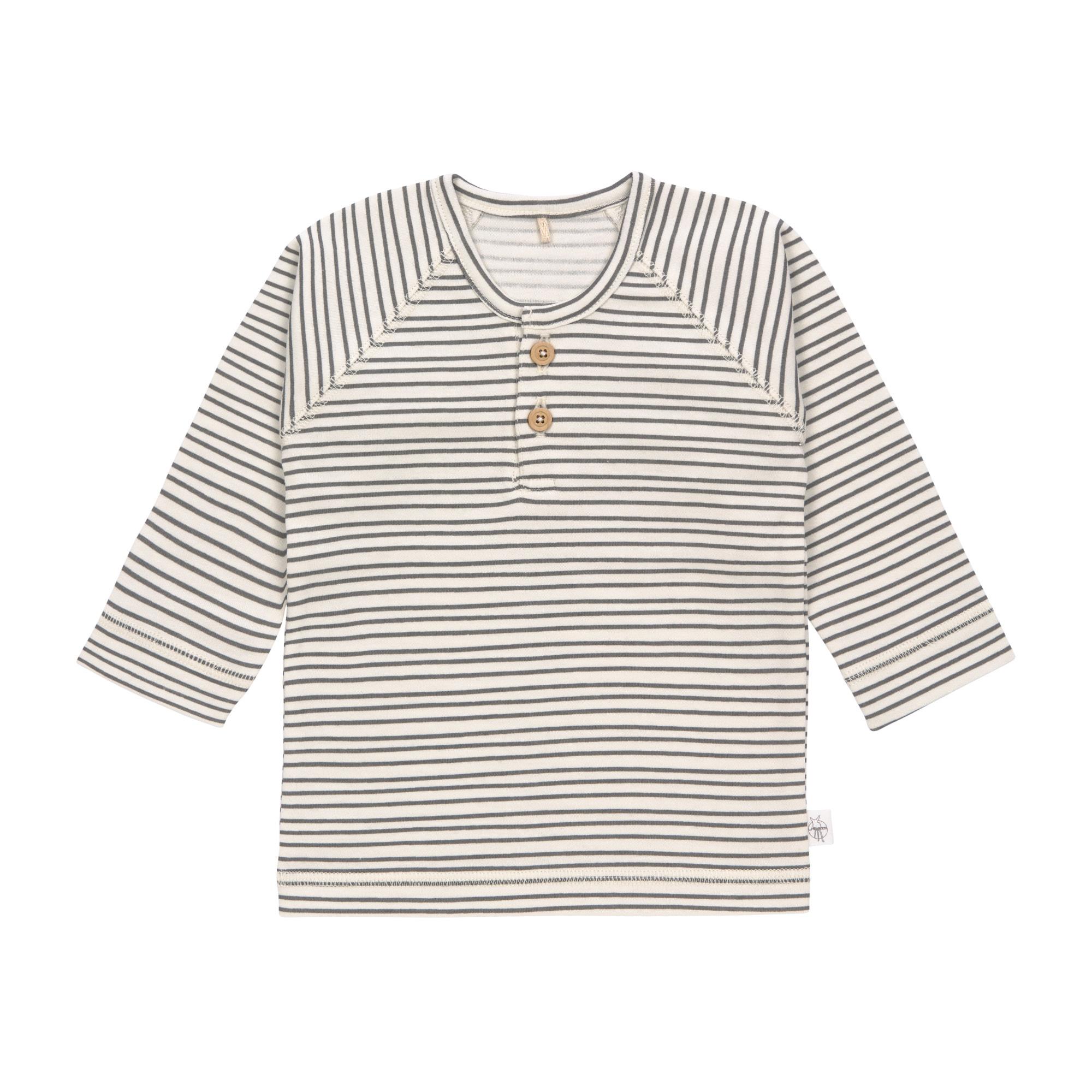 Baby Langarmshirt - Streifen grau/weiss - Lässig
