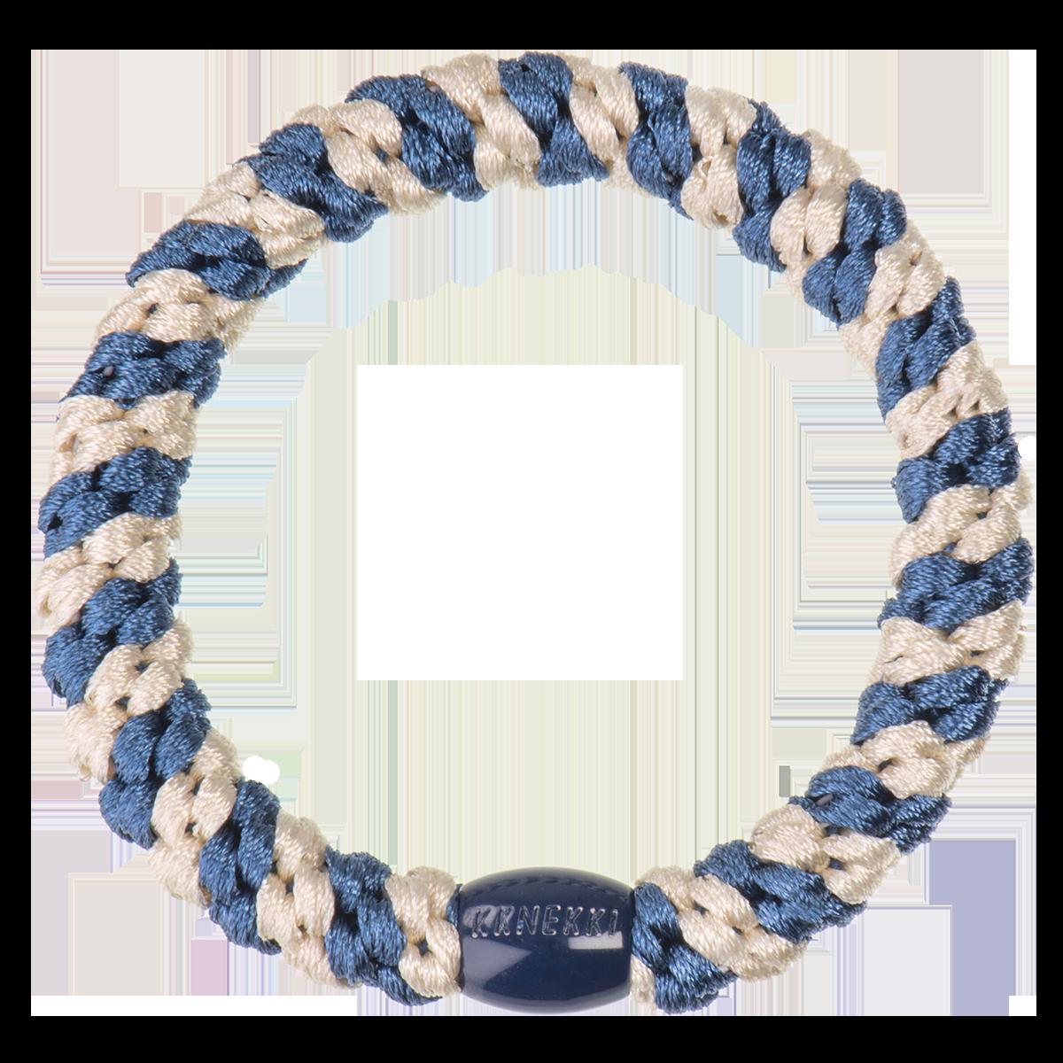 Haargummi / Armband - Indigo beige glitter stripe 5278 - KKNEKKI