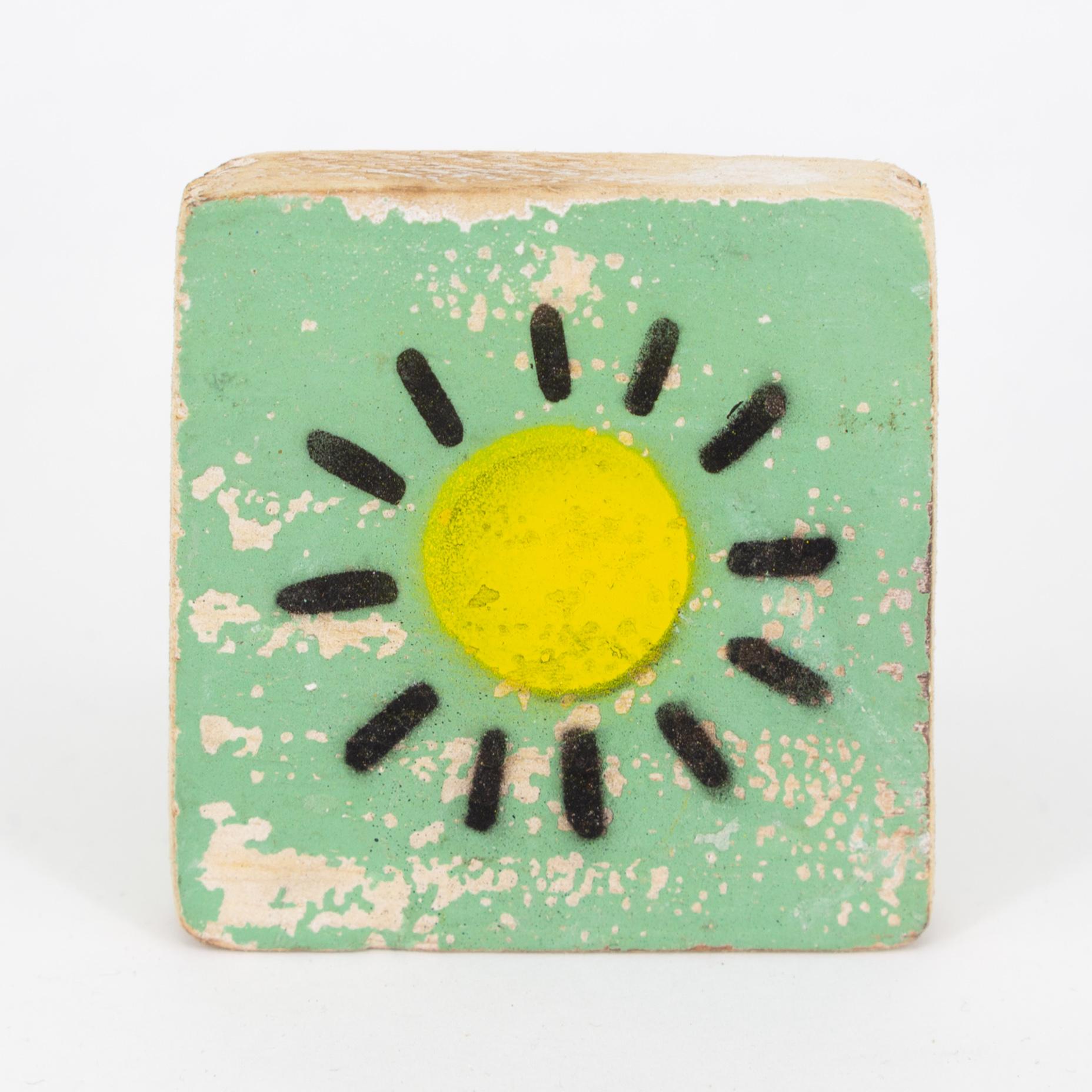 Holzsymbol - Sonne - im Scrabble-Style