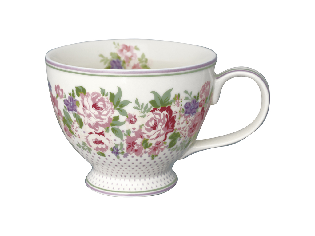 Teetasse mit Henkel - Rose white - Greengate