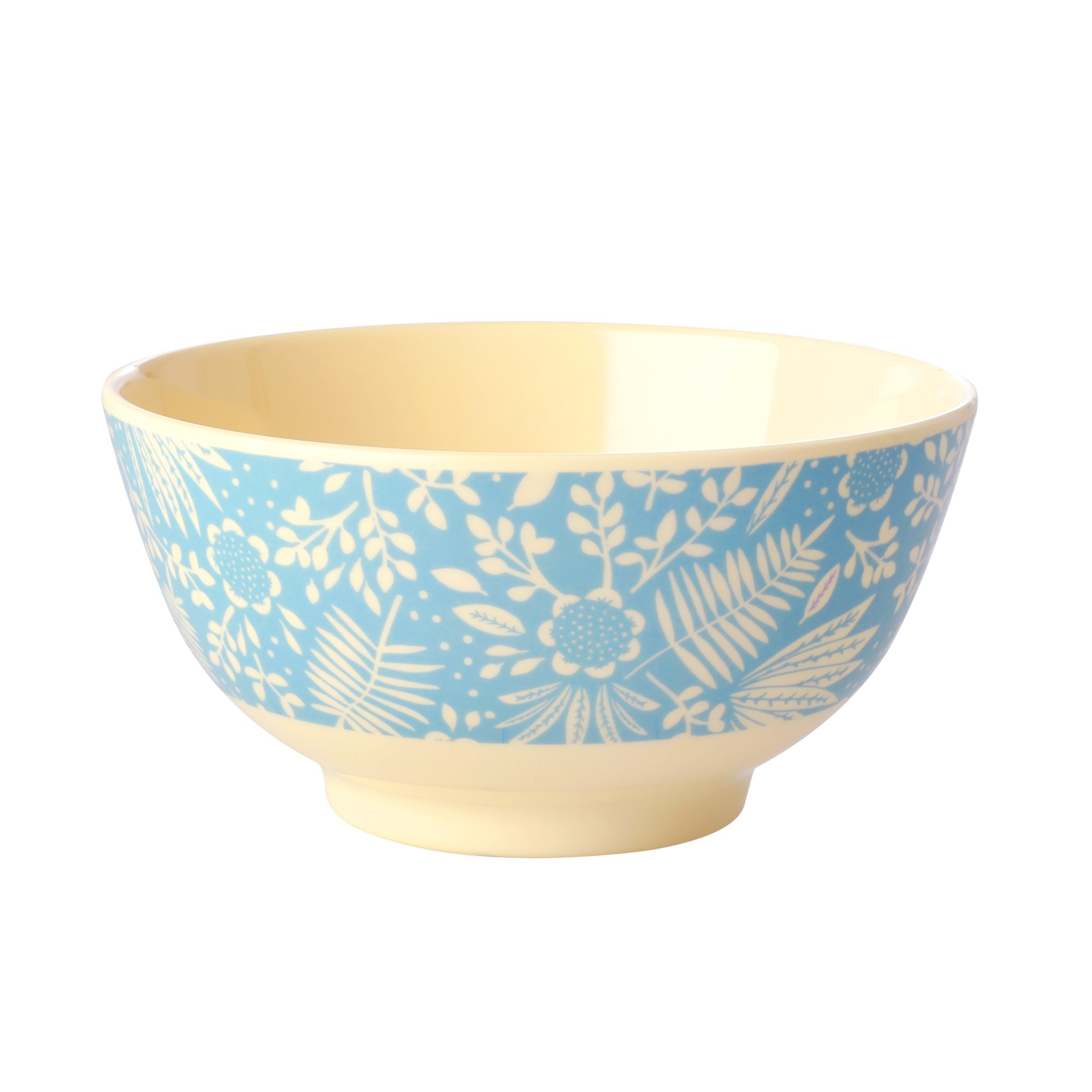 Medium Melamine Bowl - Blue Fern and Flower Print - rice