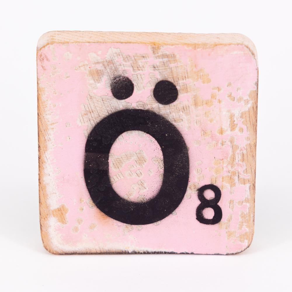 Holzbuchstabe - Ö - im Scrabble-Style