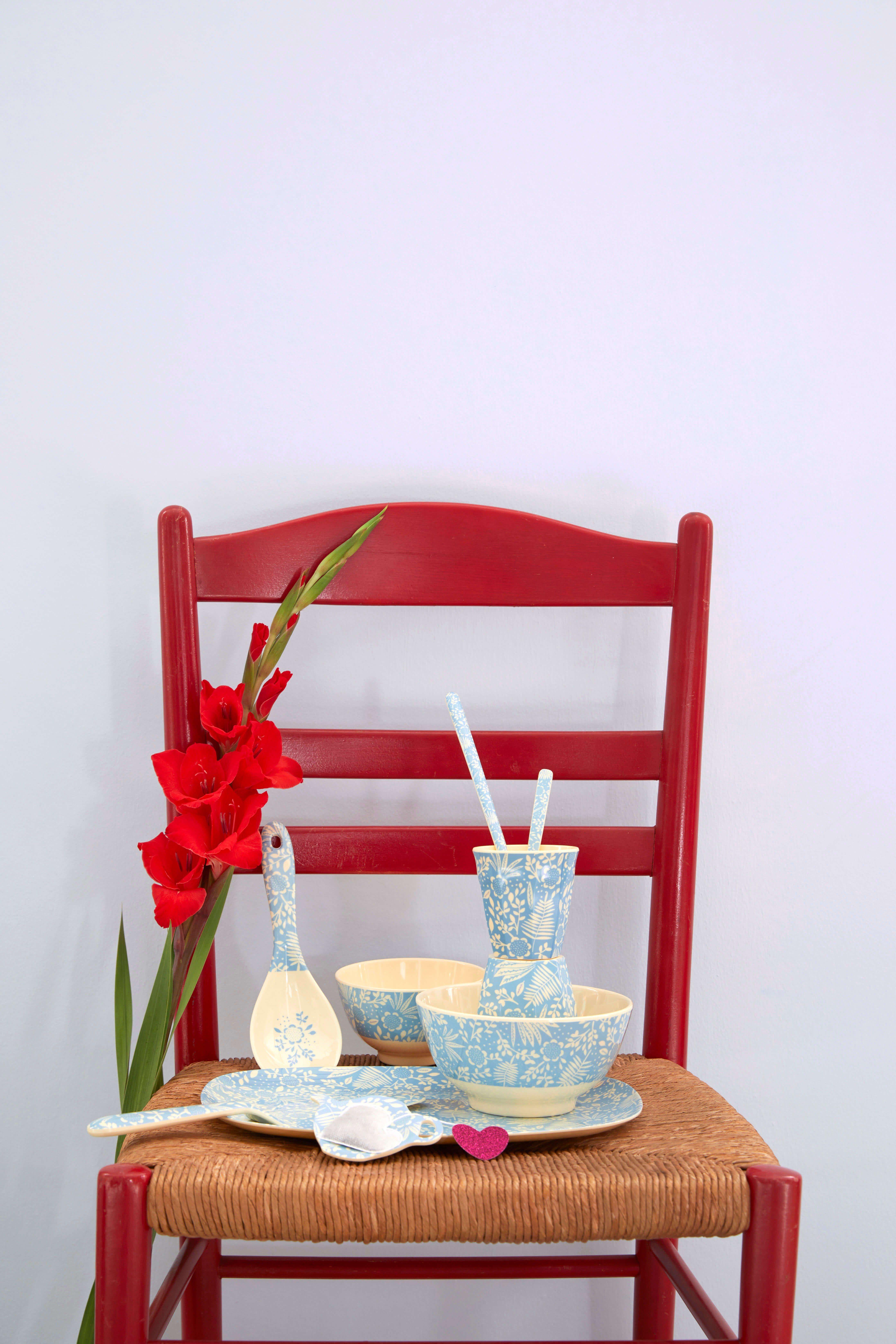 Löffel lang - Melamine Latte Spoon - Blue Fern and Flower Print - rice
