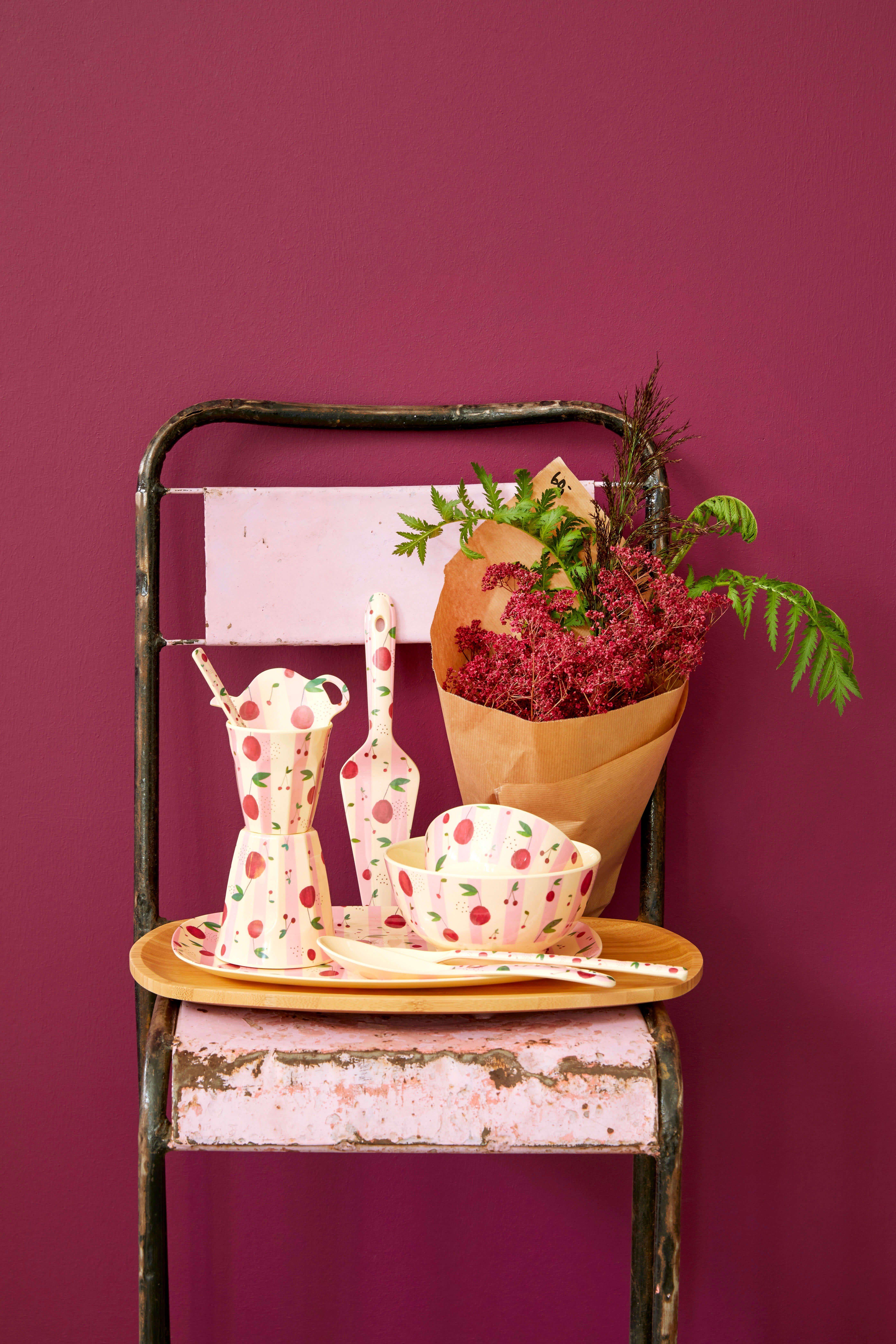 Löffel lang - Melamine Latte Spoon - Cherry Print - rice