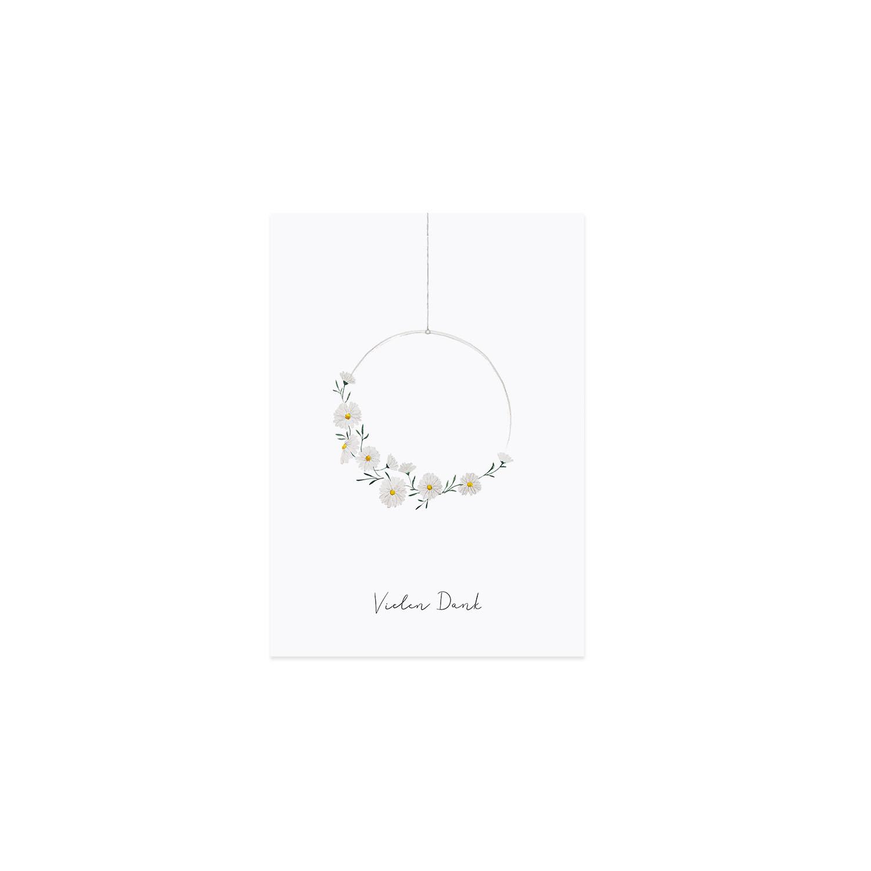 Postkarte - Blumenkranz - Eulenschnitt