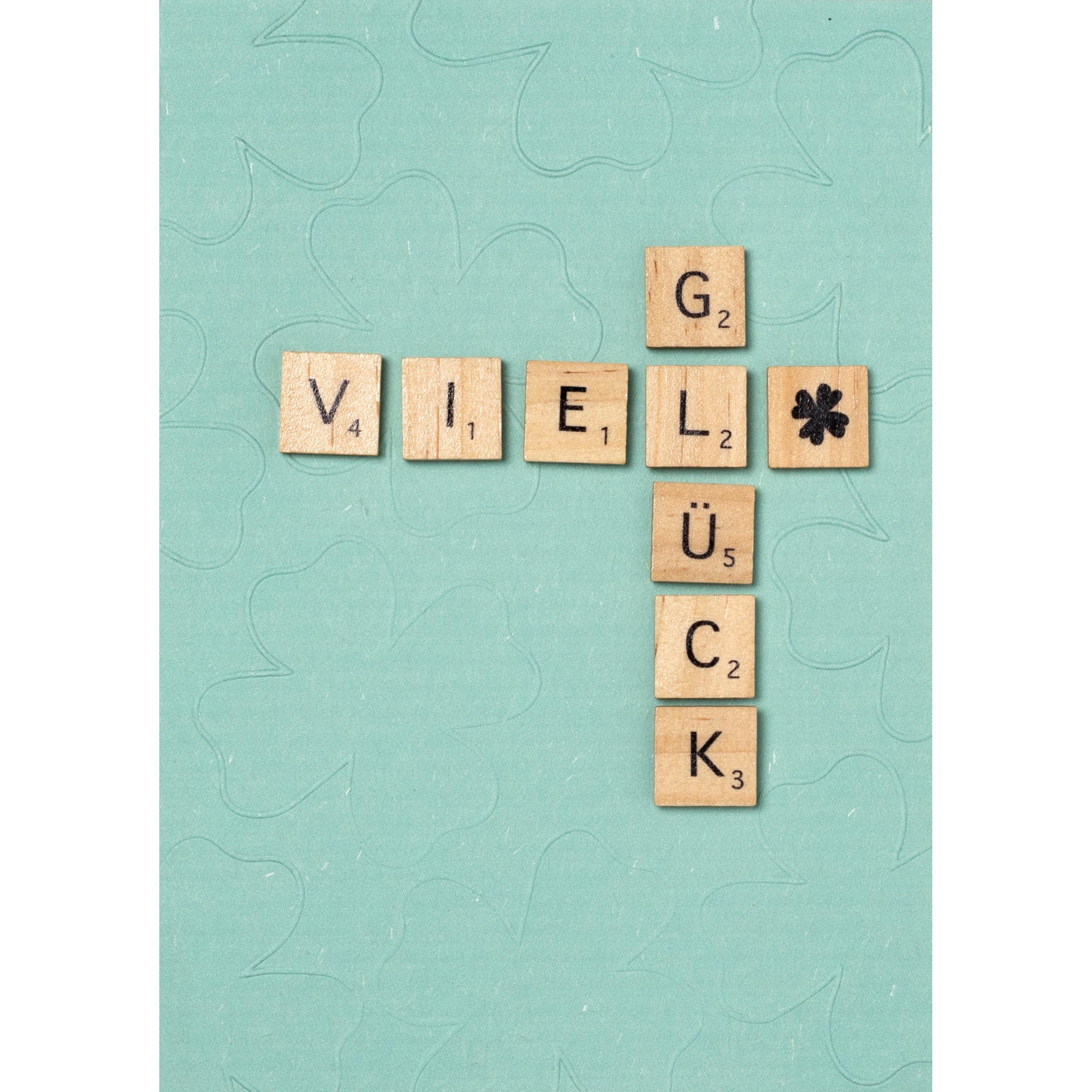 """Holzbuchstabenkarte """"Viel Glück"""" - räder"""
