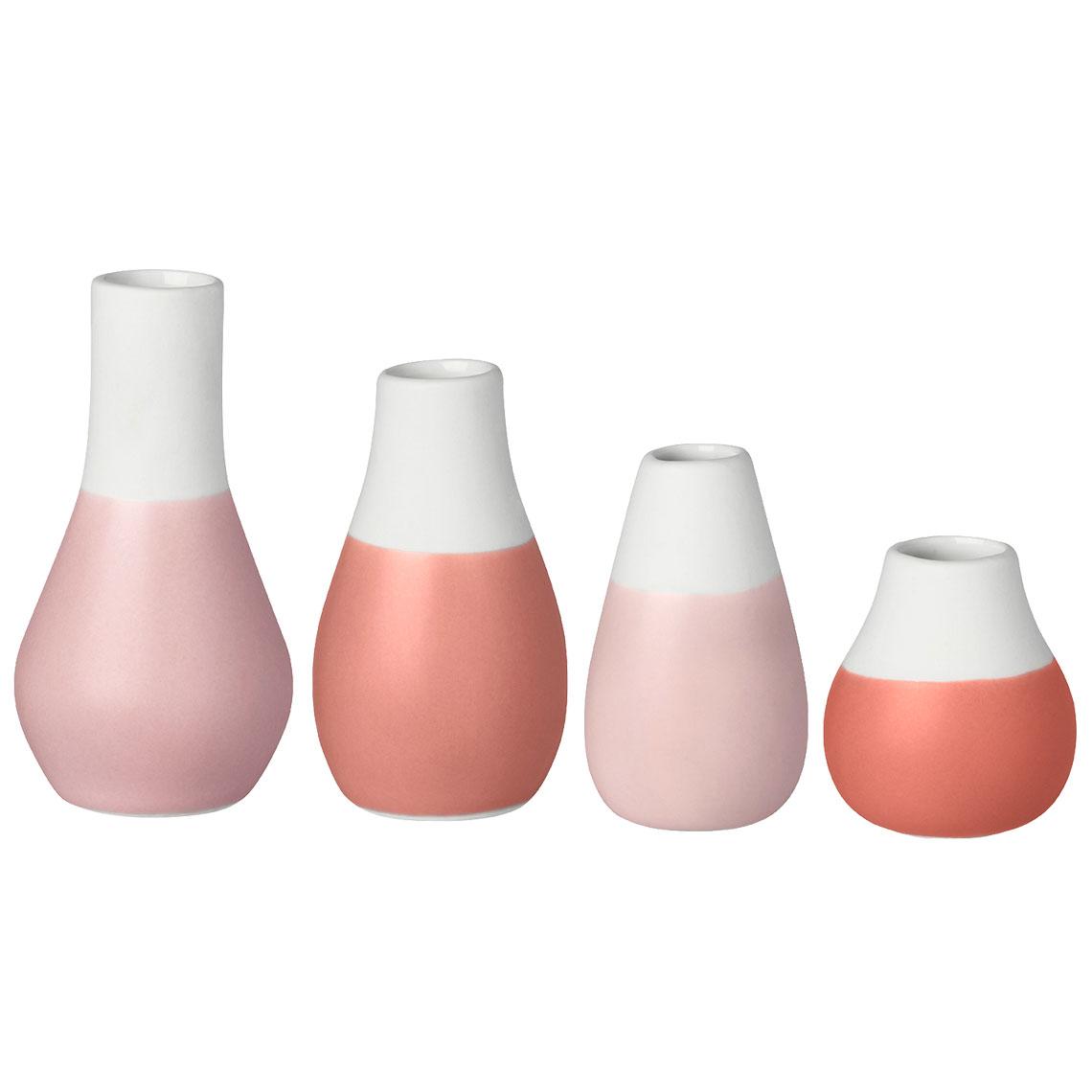 "Mini Vasen Pudertöne ""Set aus 4"" - räder"