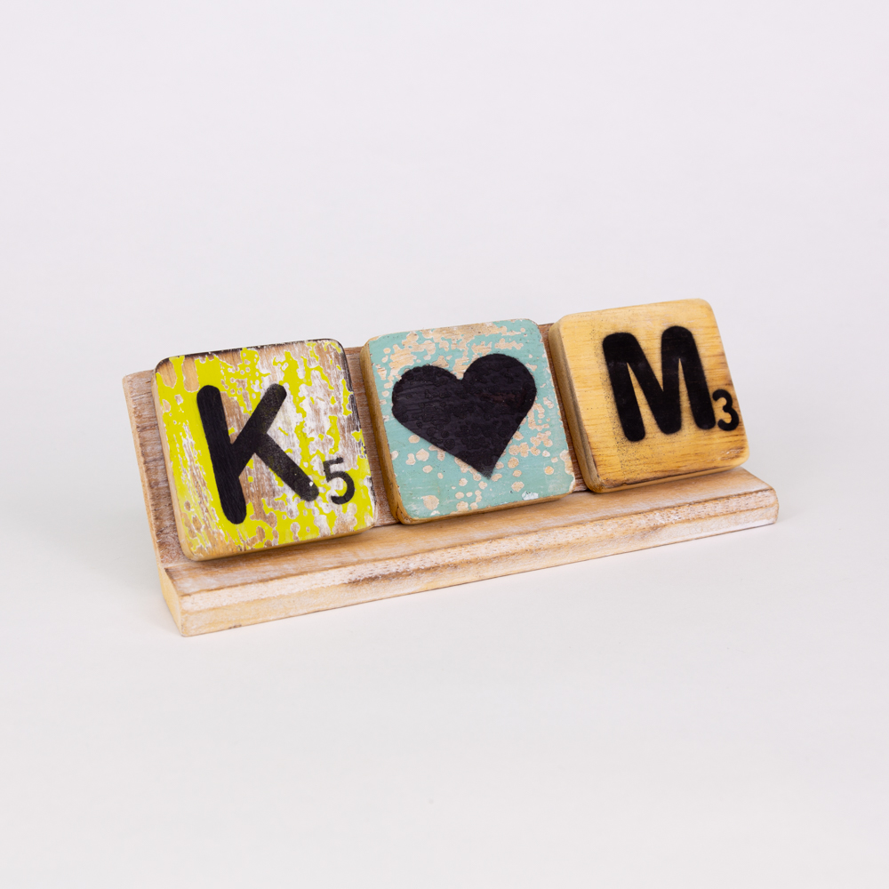 Holzsymbol - Herz - im Scrabble-Style