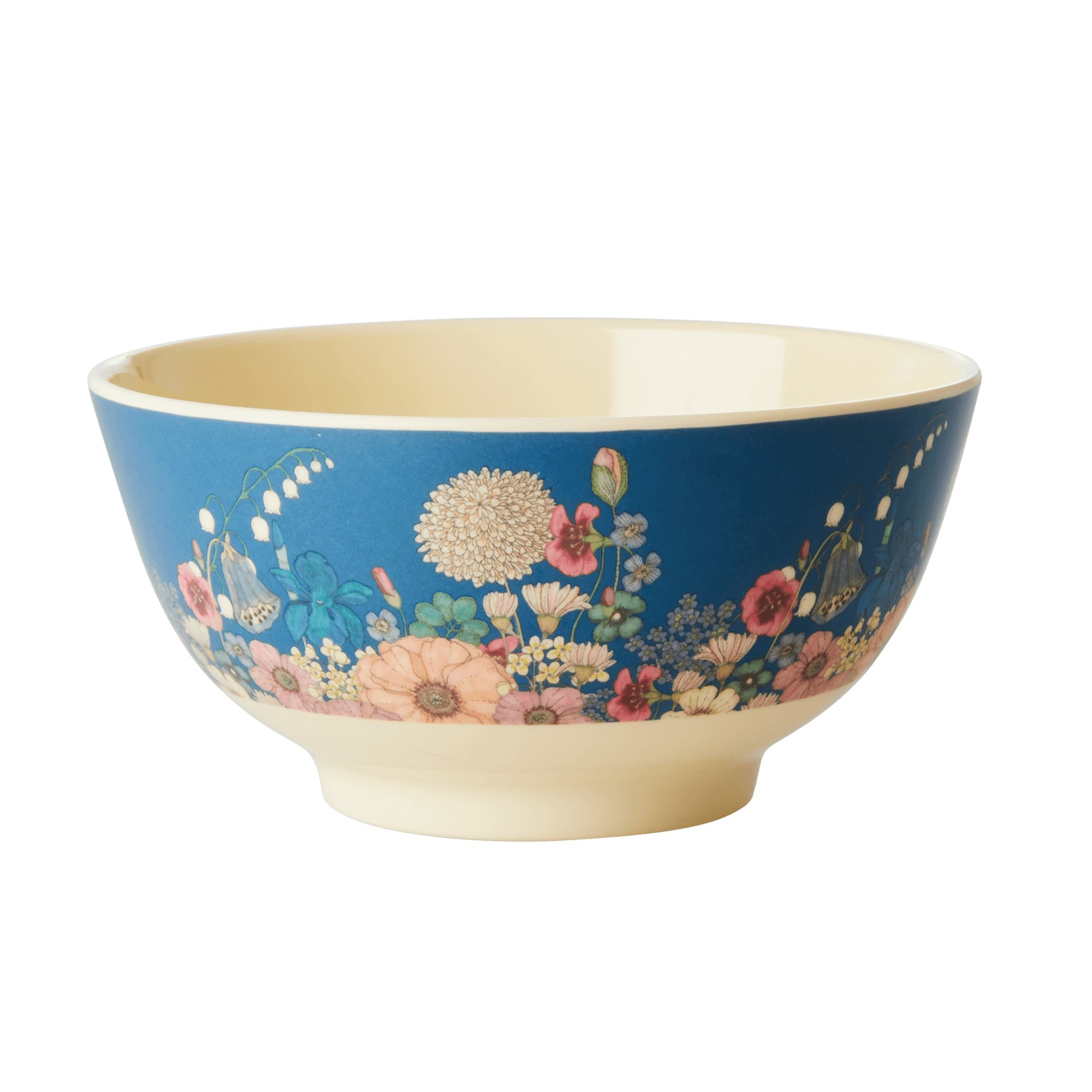 Medium Melamine Bowl - Flower Collage Print - rice