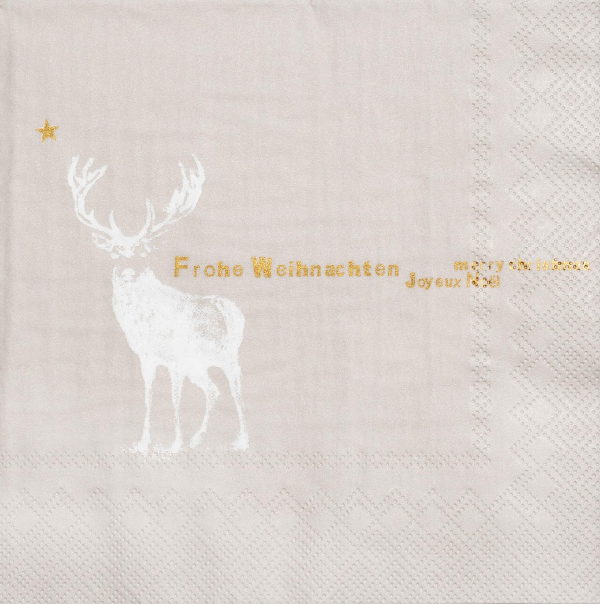 """Papierservietten """"Frohe Weihnachten, Hirsch"""" - räder (Xmas)"""