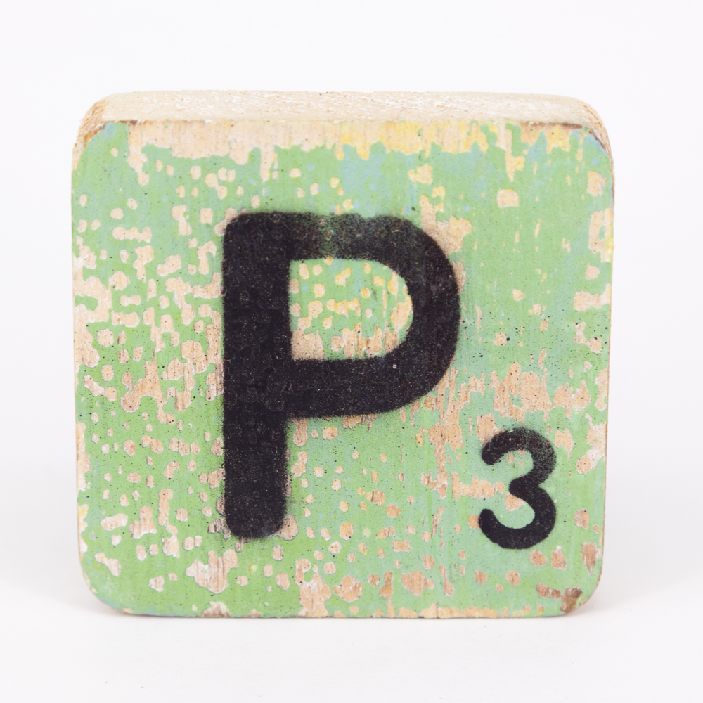 Holzbuchstabe - P - im Scrabble-Style