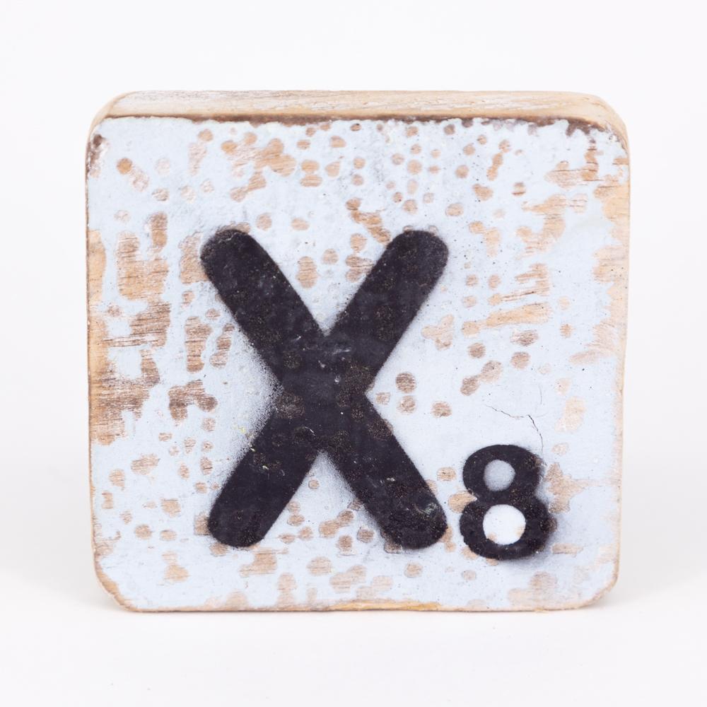 Holzbuchstabe - X - im Scrabble-Style