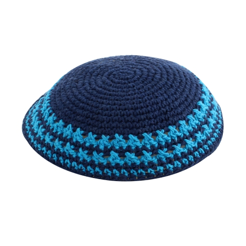 Kippa, knitted, blue