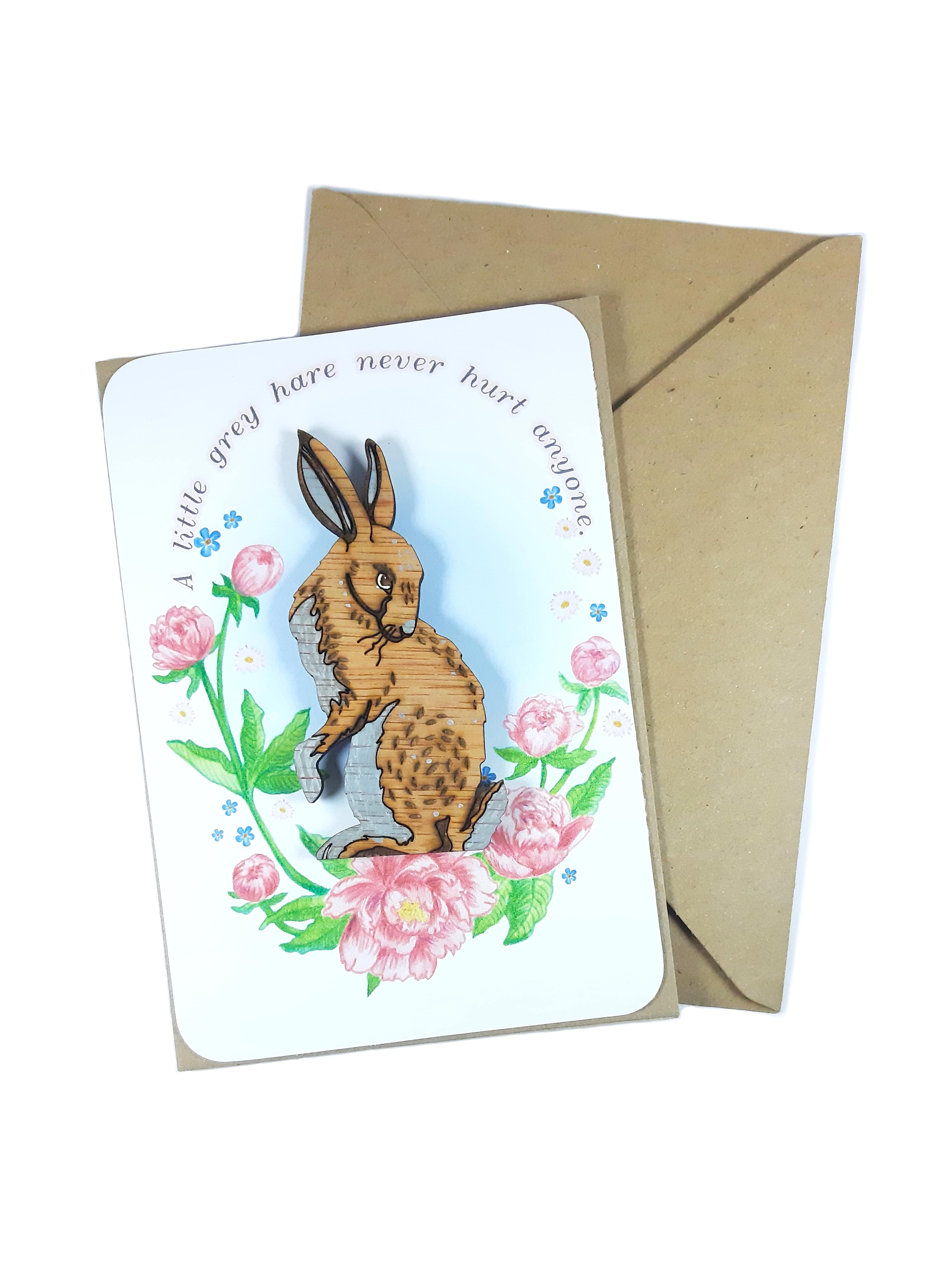 Grey Hare Magnet Card