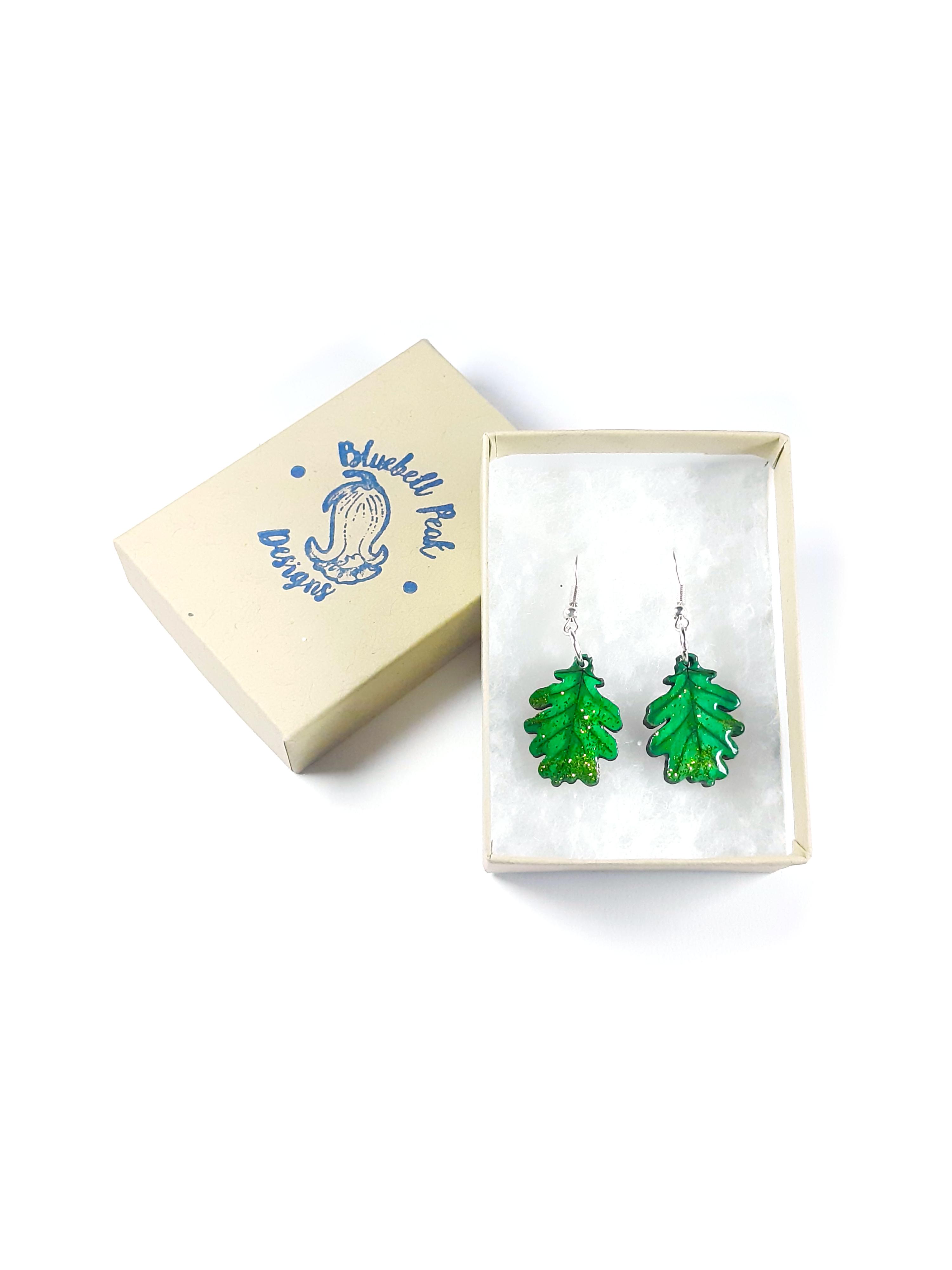 Autumn Oak Leaves - Drop Earrings
