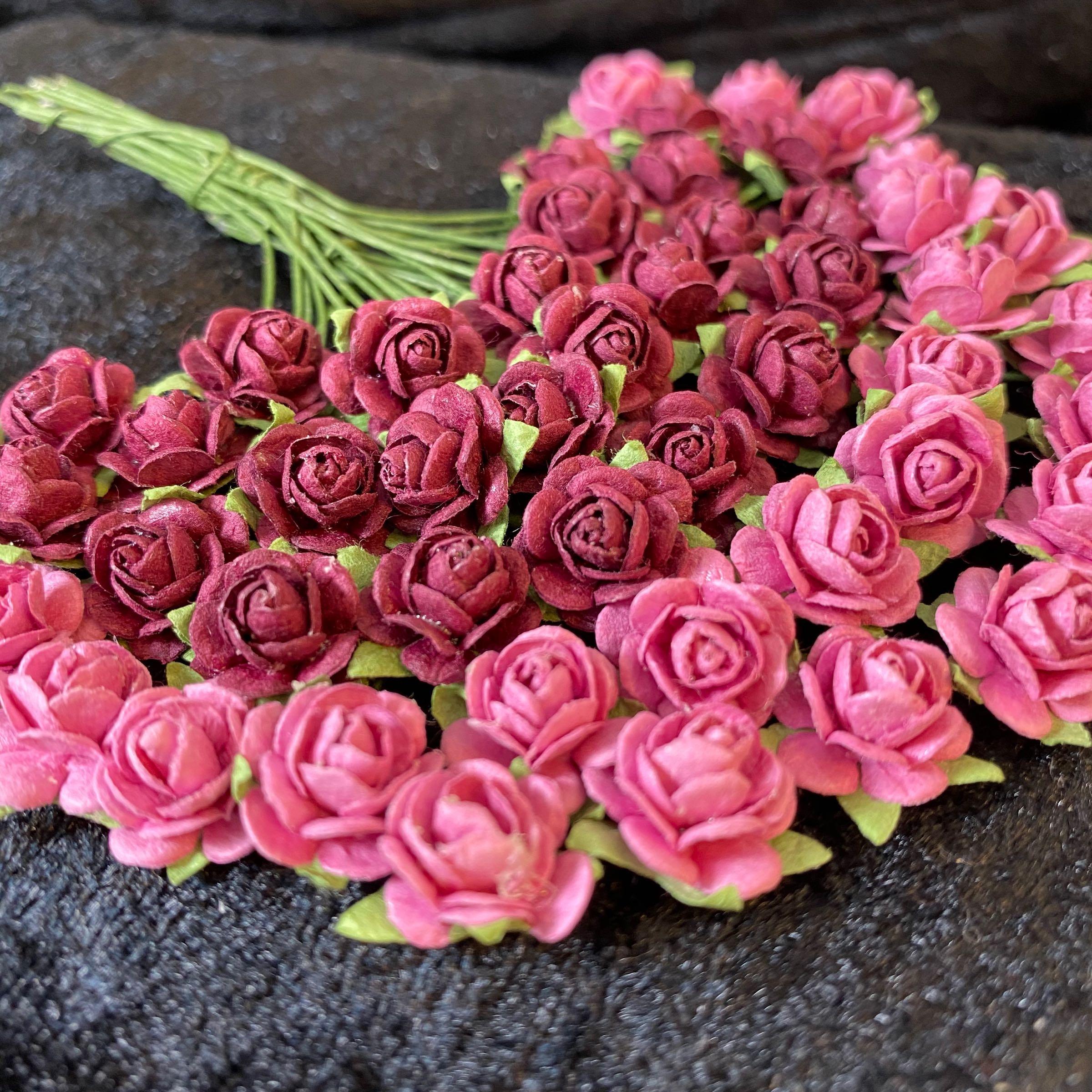 Papirdesign blomst roser mørk rosa &burgunder 1,2cm