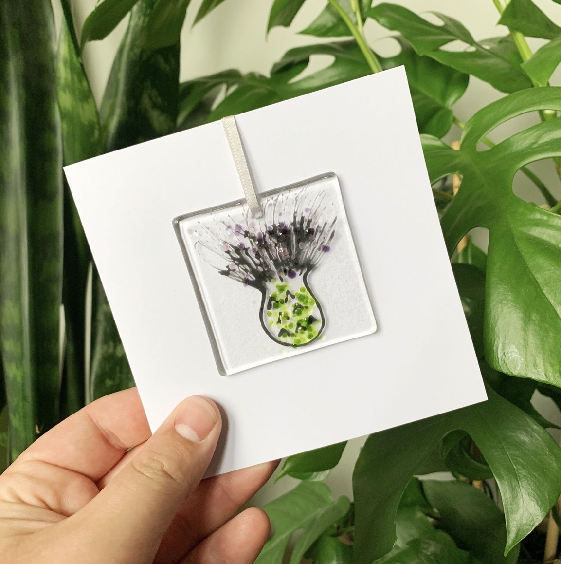 Fused Glass Thistle Card