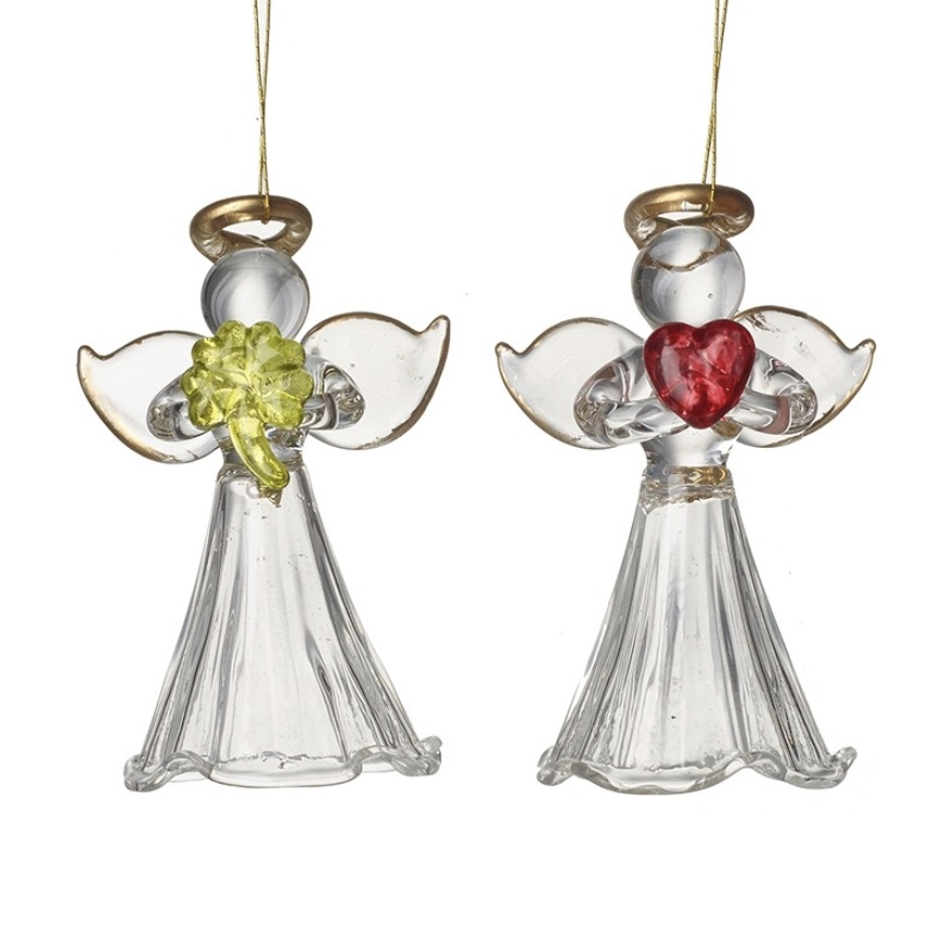 Glass Angel & heart or clover