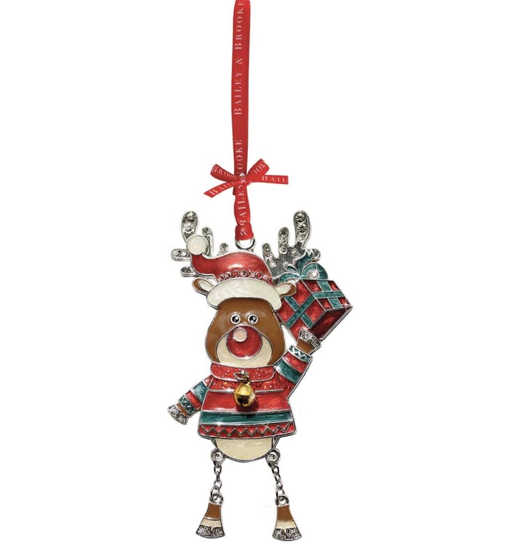 Sparkle Reindeer Holding Gift