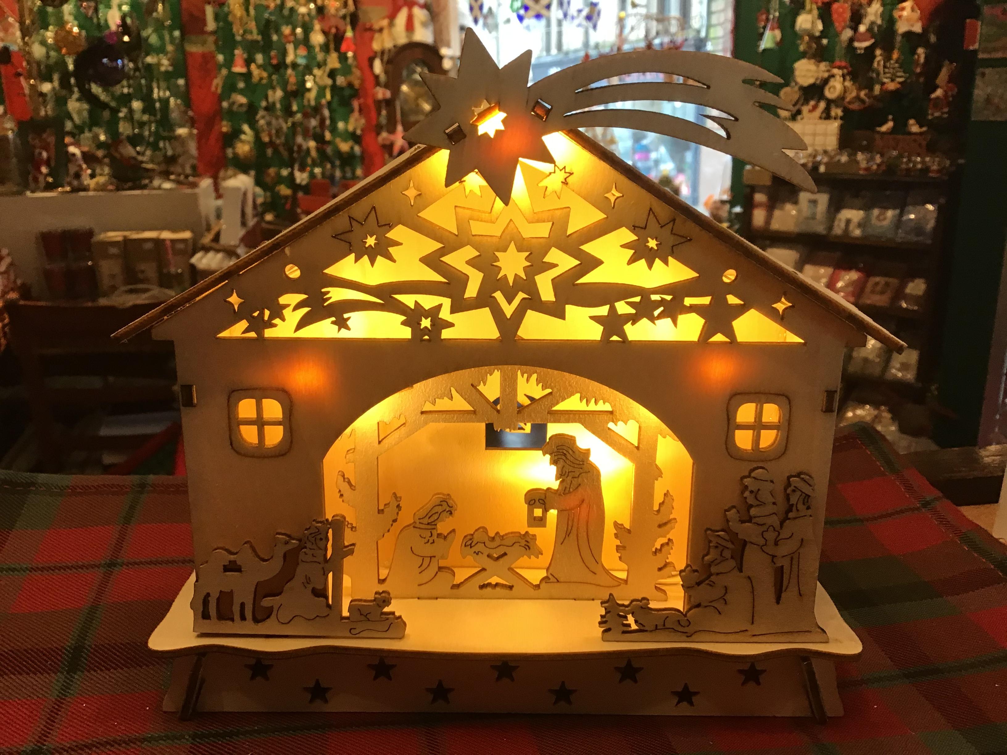 Small Wooden Nativity - led