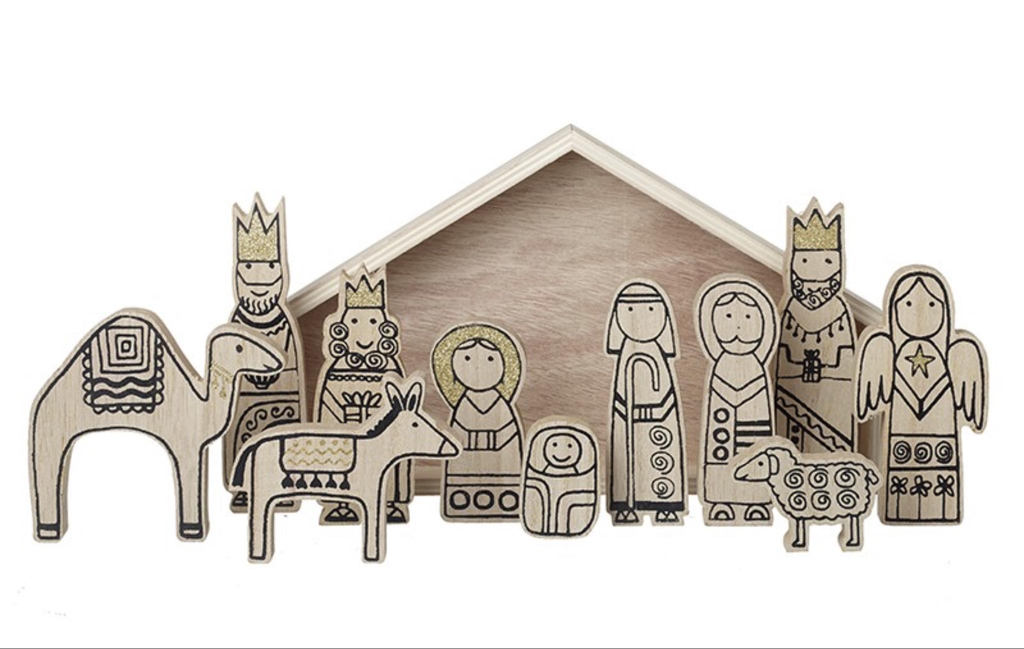 Wooden Boxed Nativity Set