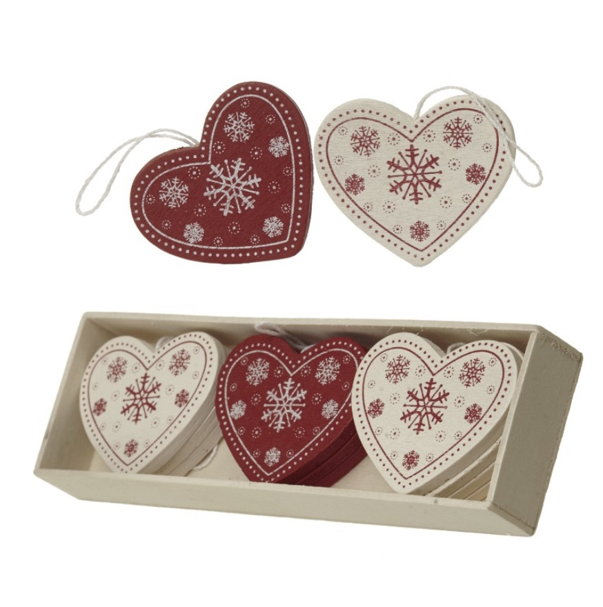 Box of Wee Wooden Hearts (12)