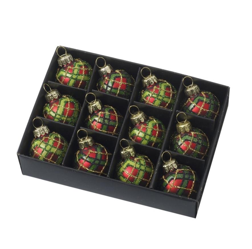 Mini tartan baubles