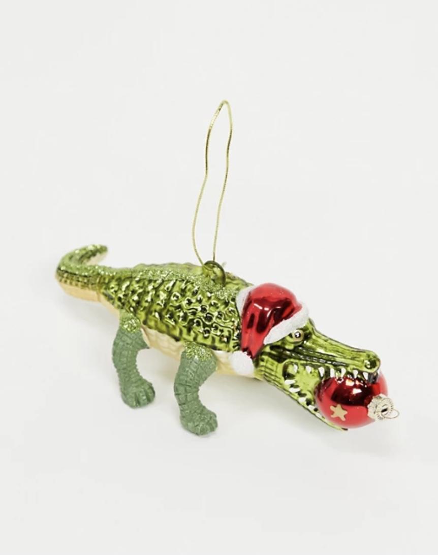 Alligator Crocodile in Santa hat