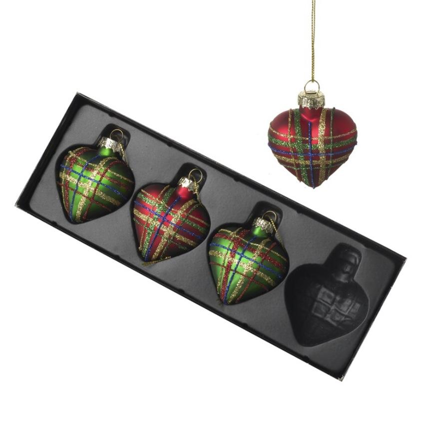 Tartan glass hearts - set of 4