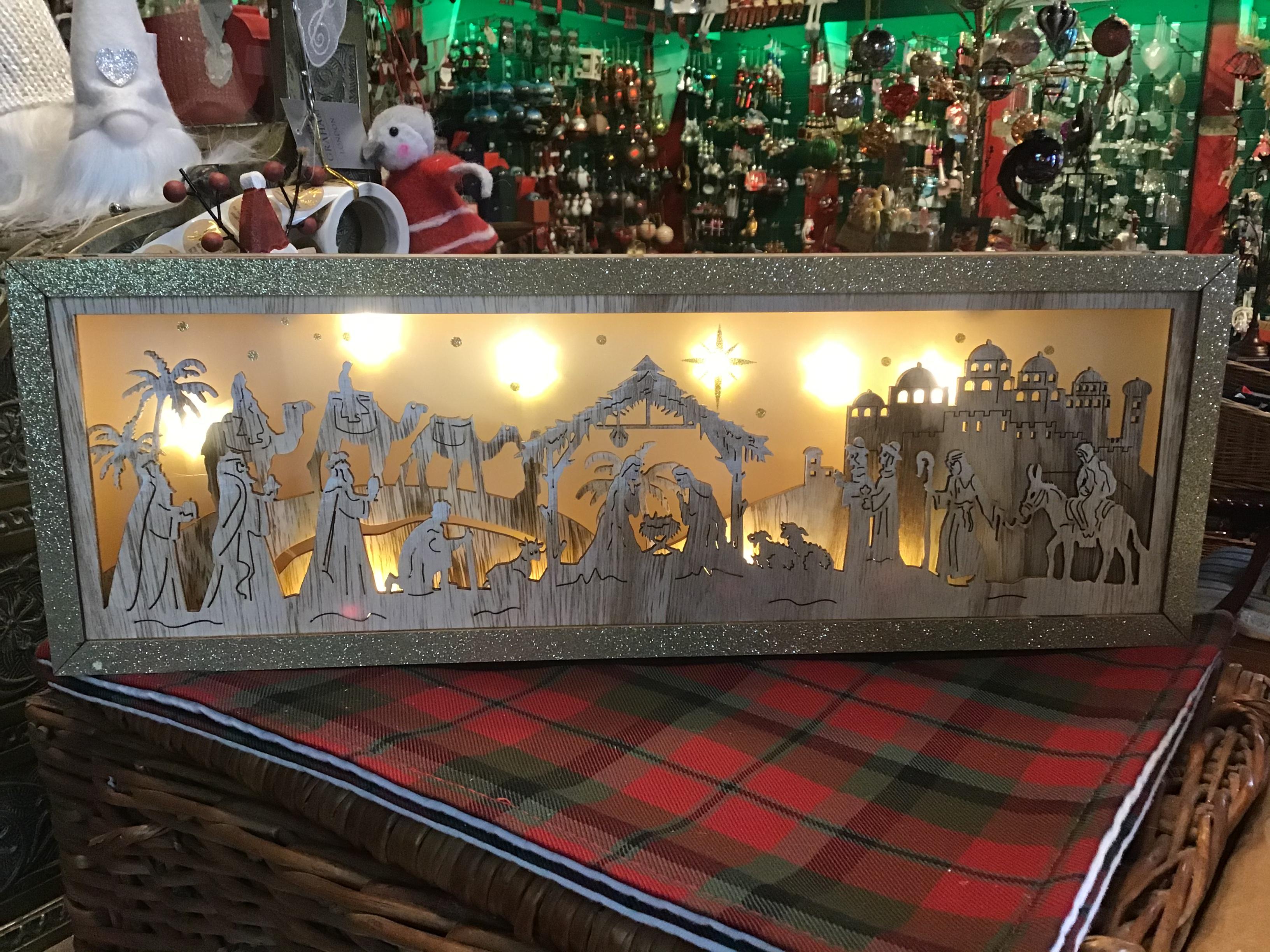 Large Wooden Nativity LED