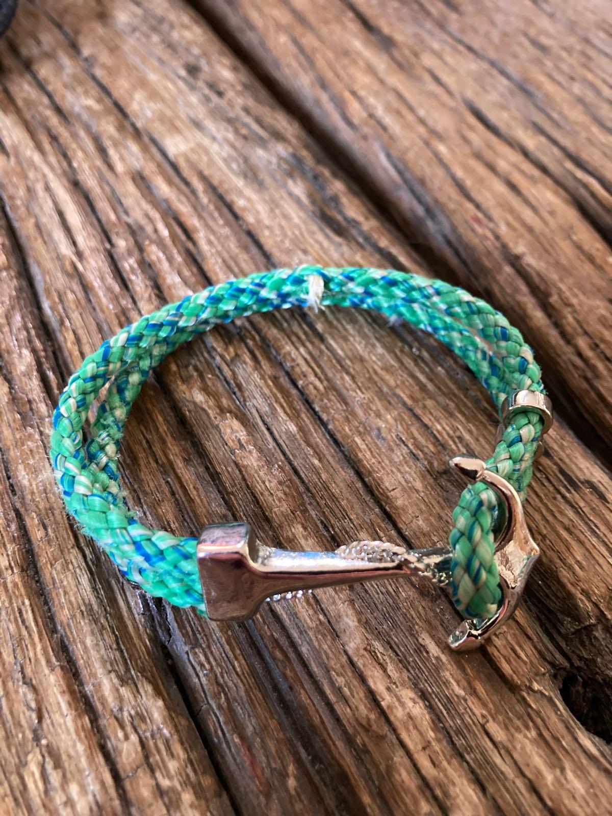 Fischereidesign - Ankerarmband, Stellnetzleine grün-blau, Silber