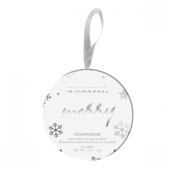Spongelle Merry Holiday Ornament Champagne
