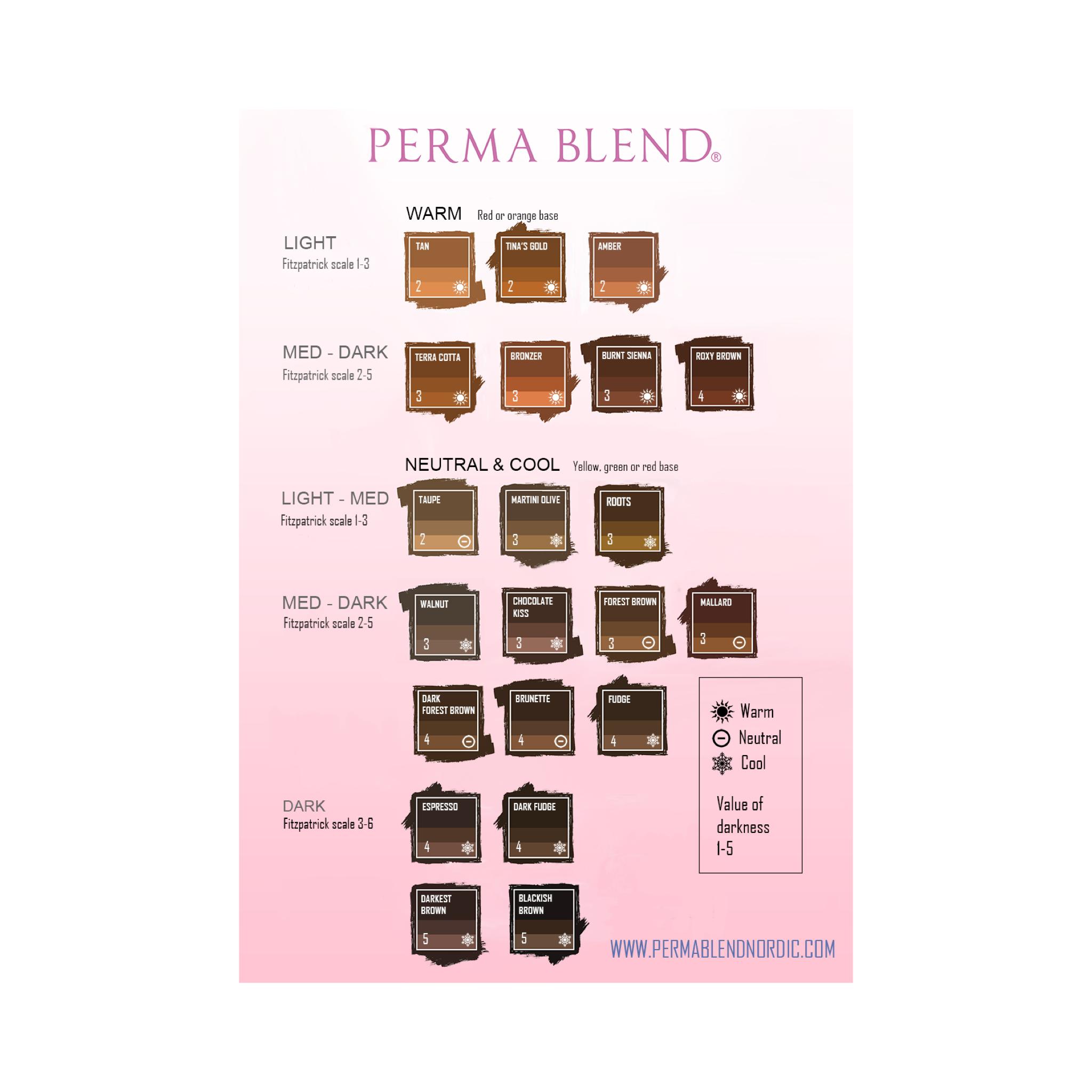 Färgkarta Bryn/ Color chart Brows