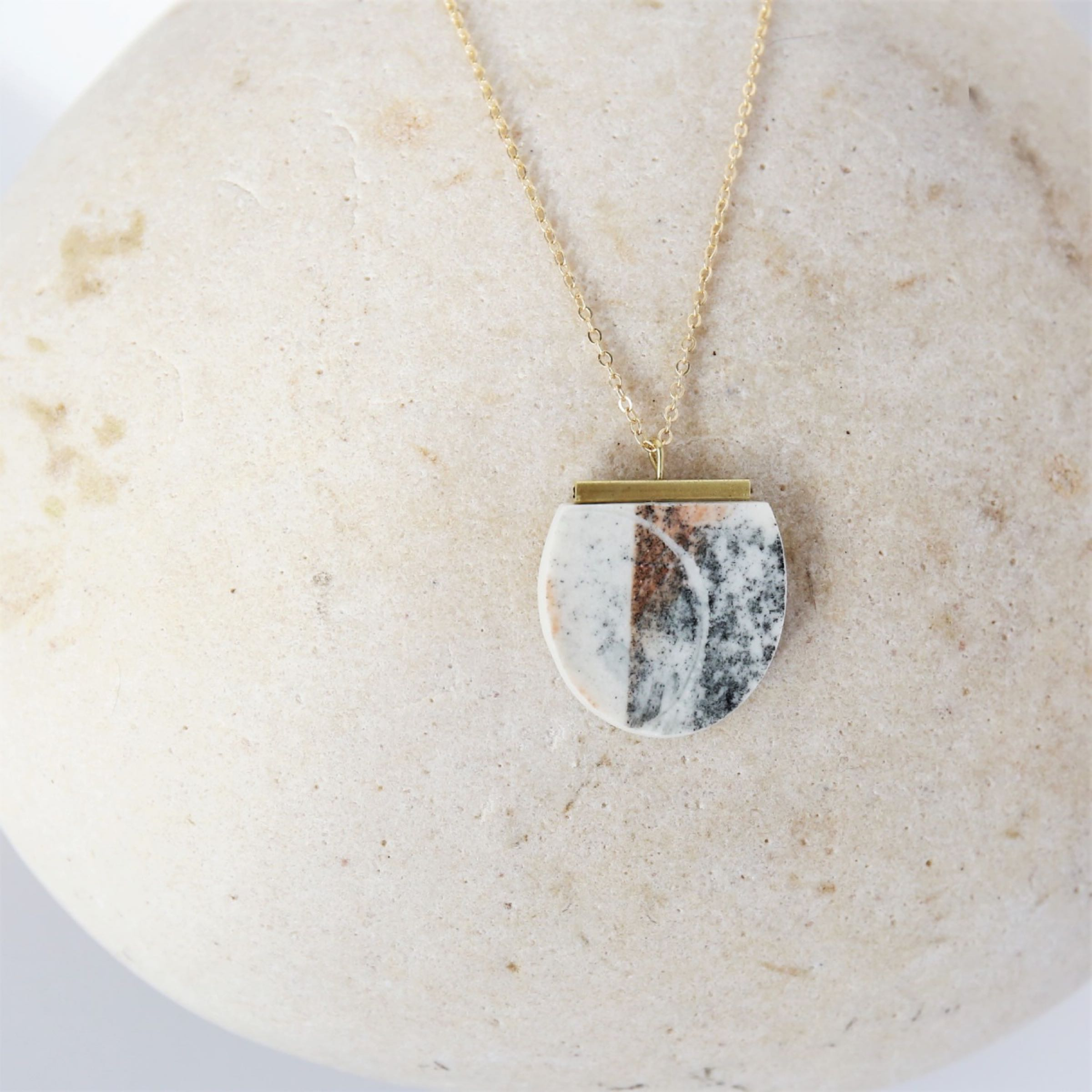Porcelain and brass pendant on gold filled chain by Clay Shed Studio