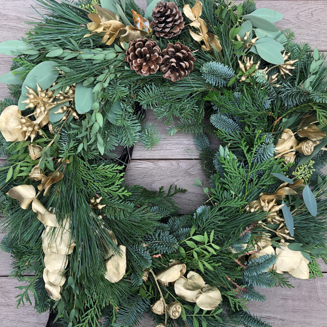 Bespoke Christmas Wreath (choice of accents) - 14""