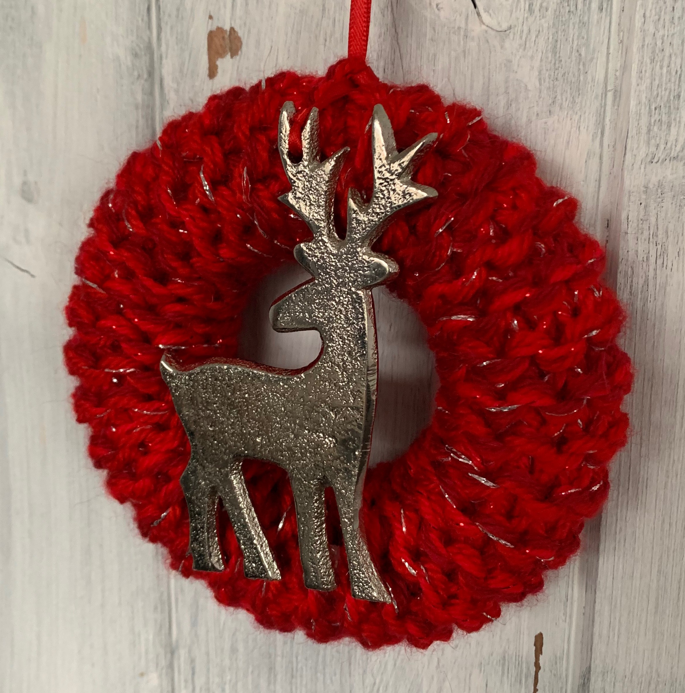 Small Red and Silver Reindeer Christmas Wreath