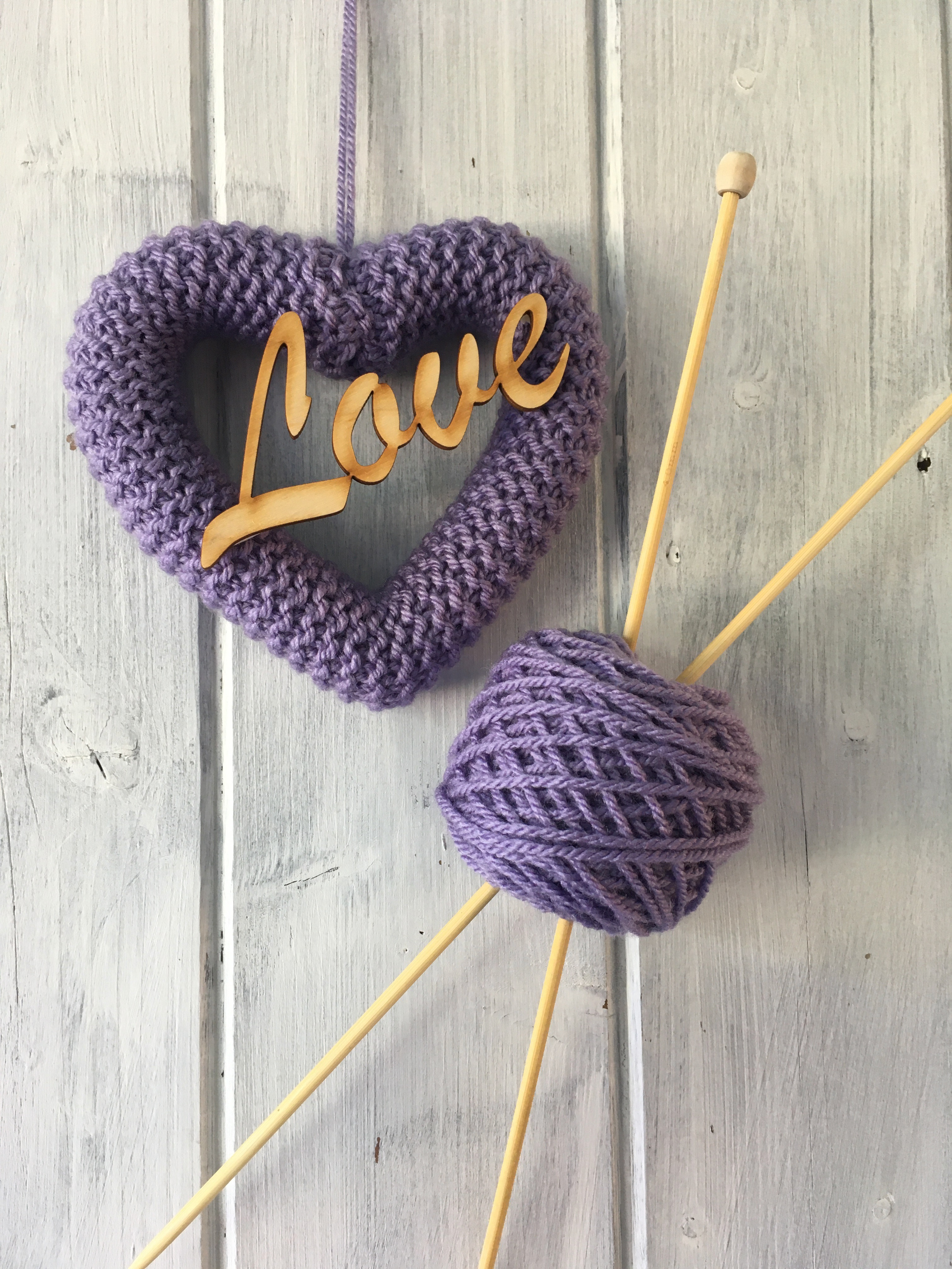 Knitted Heart Dusty Lilac