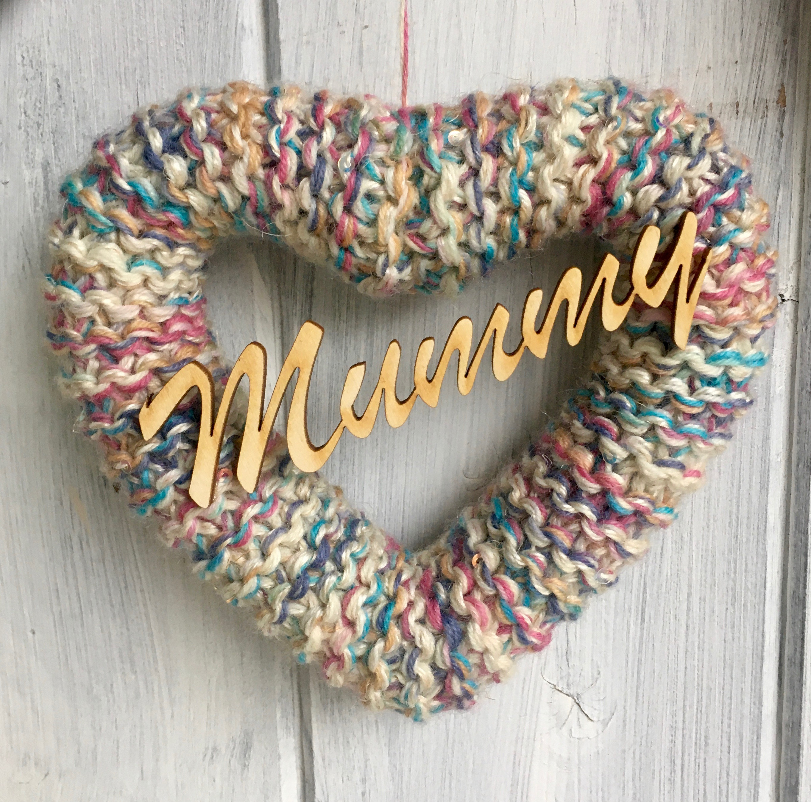Knitted Muted Rainbow Hearts